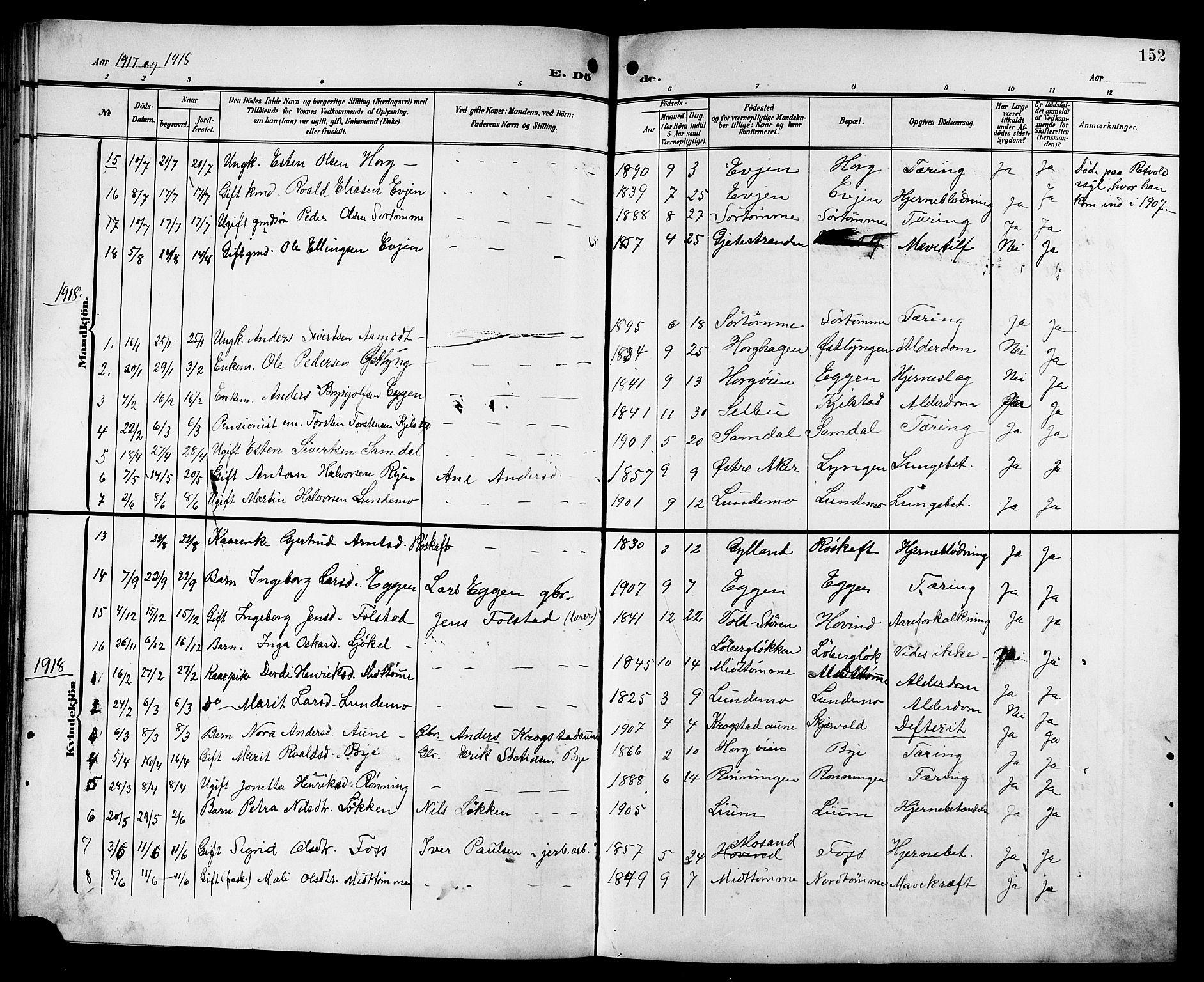 SAT, Ministerialprotokoller, klokkerbøker og fødselsregistre - Sør-Trøndelag, 692/L1112: Klokkerbok nr. 692C07, 1904-1918, s. 152