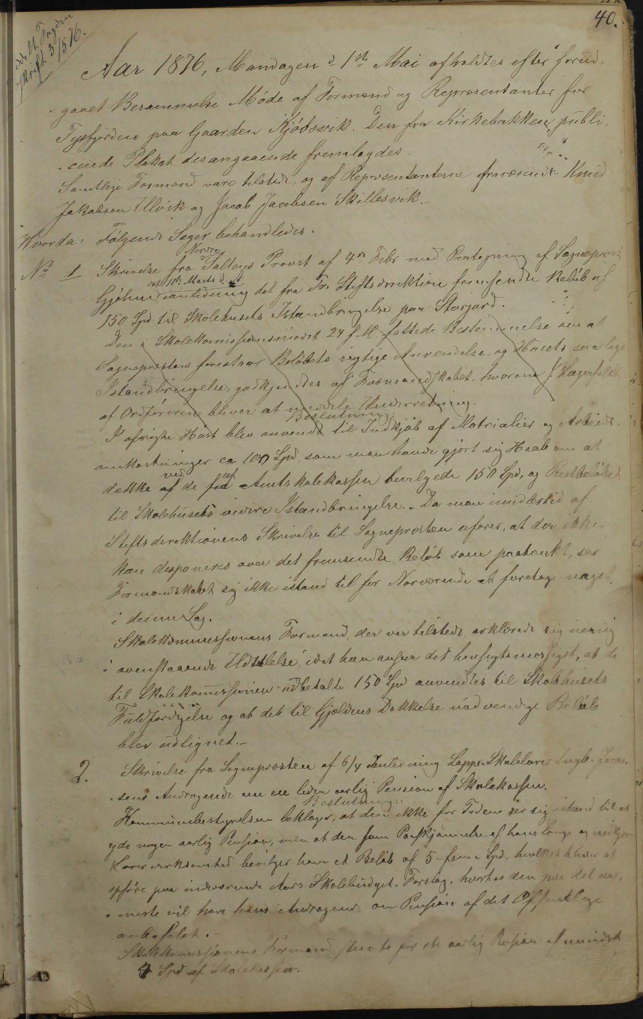 AIN, Tysfjord kommune. Formannskapet, 100/L0001: Forhandlingsprotokoll for Tysfjordens formandskab, 1869-1895, s. 40