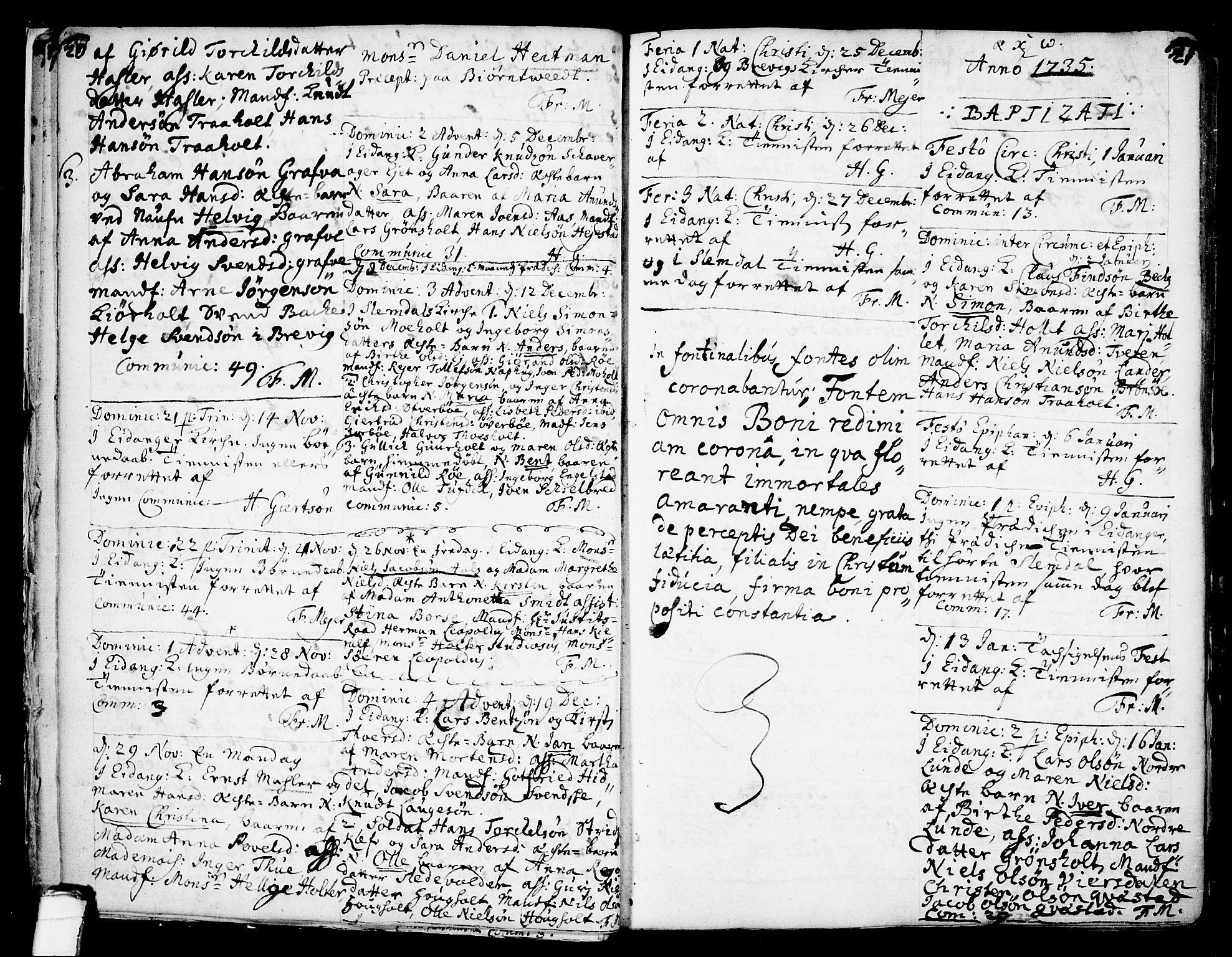 SAKO, Eidanger kirkebøker, F/Fa/L0004: Ministerialbok nr. 4, 1733-1759, s. 20-21