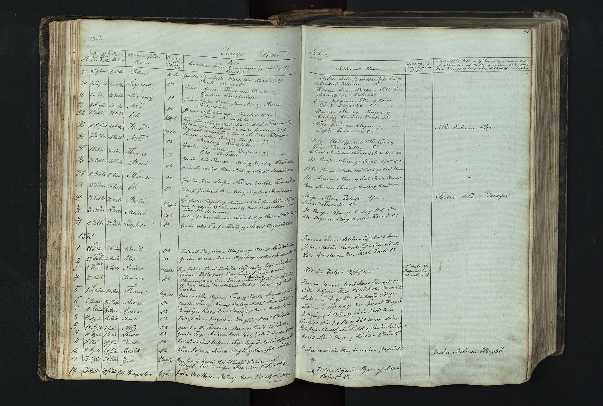 SAH, Vang prestekontor, Valdres, Klokkerbok nr. 4, 1835-1892, s. 65
