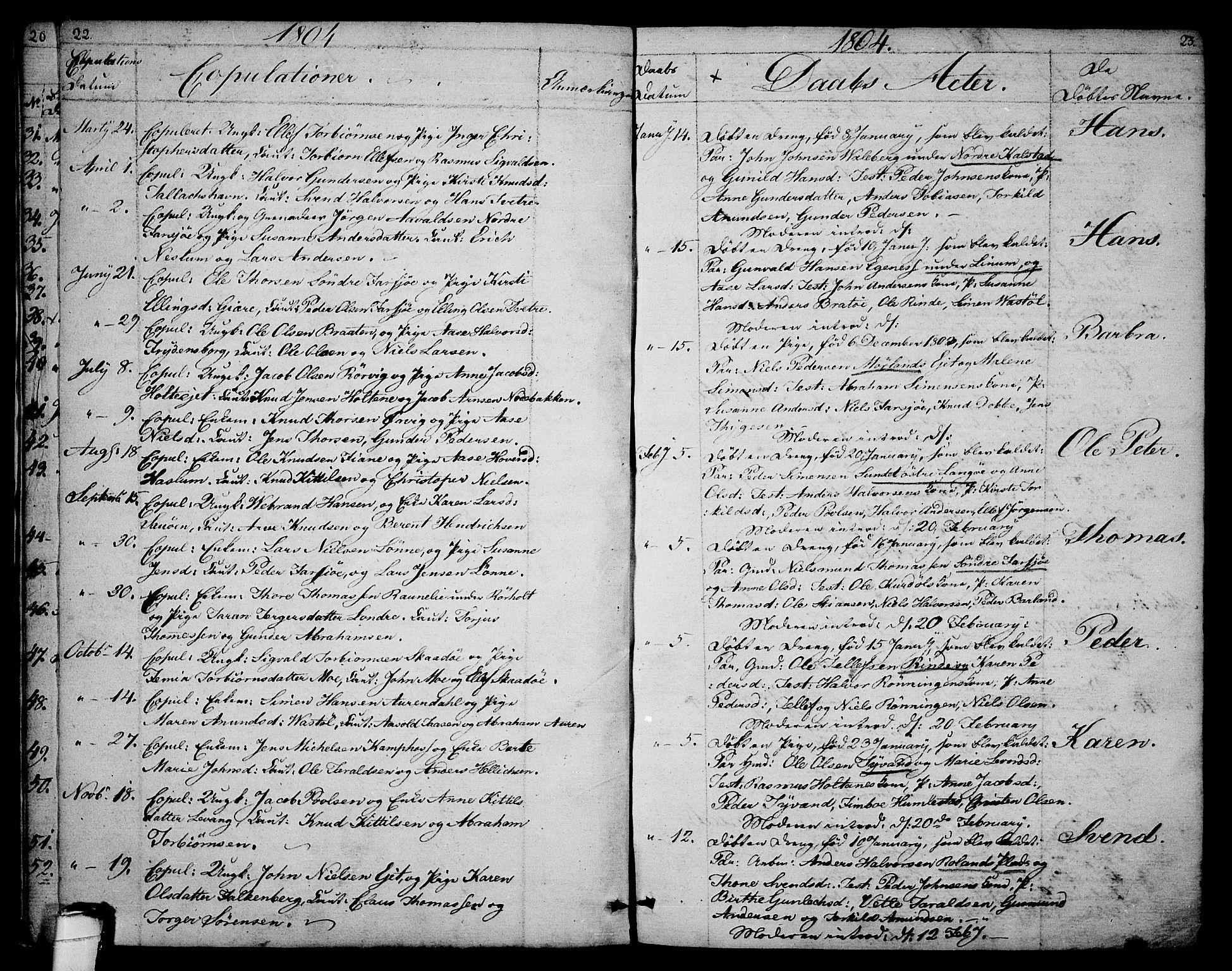 SAKO, Sannidal kirkebøker, F/Fa/L0003: Ministerialbok nr. 3, 1803-1813, s. 22-23