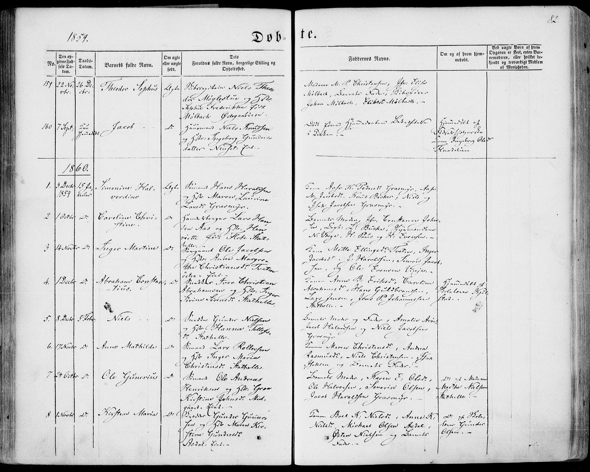 SAKO, Bamble kirkebøker, F/Fa/L0005: Ministerialbok nr. I 5, 1854-1869, s. 82