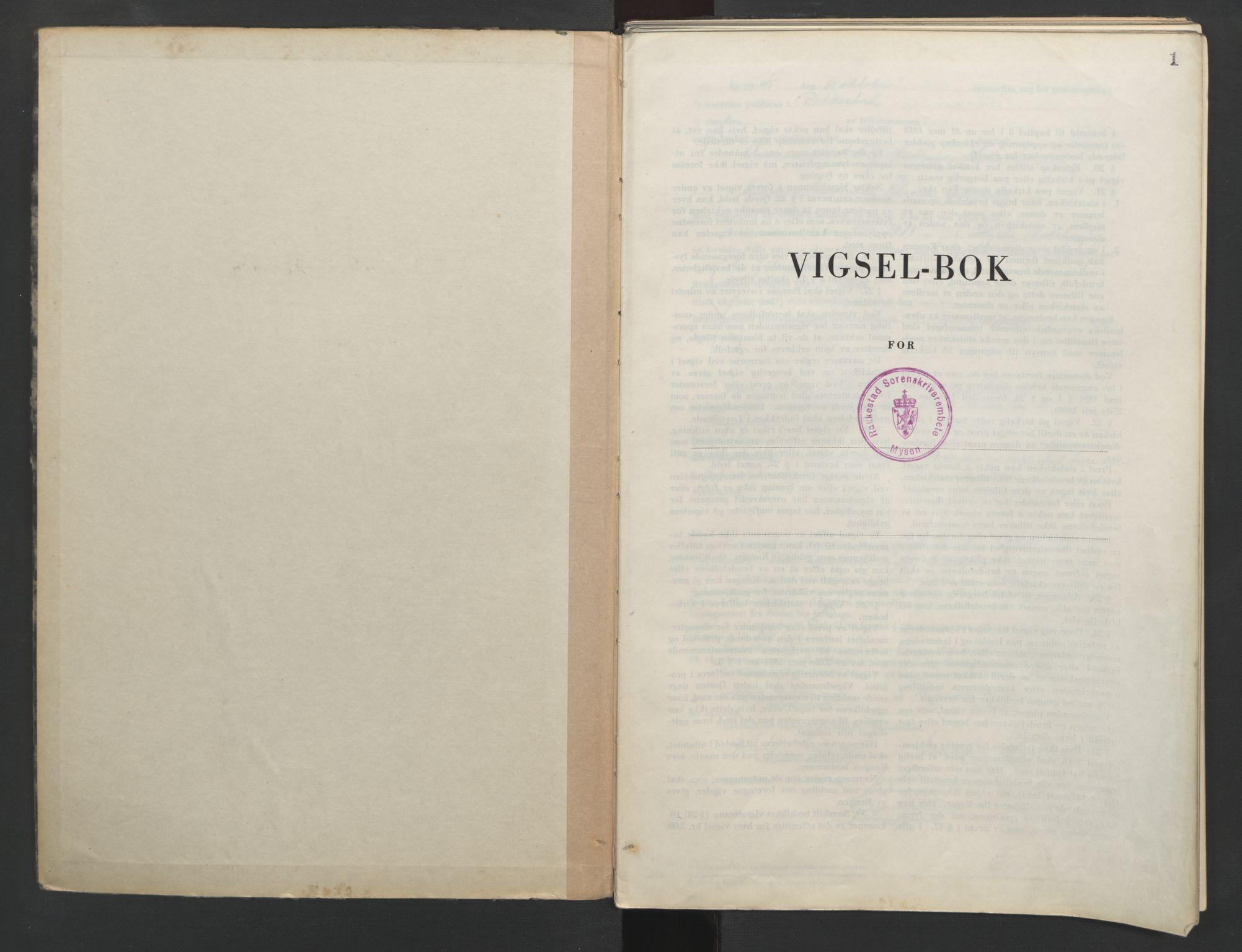 SAO, Rakkestad sorenskriveri, L/Lc/Lca/L0005: Vigselbøker, 1945-1951, s. 1