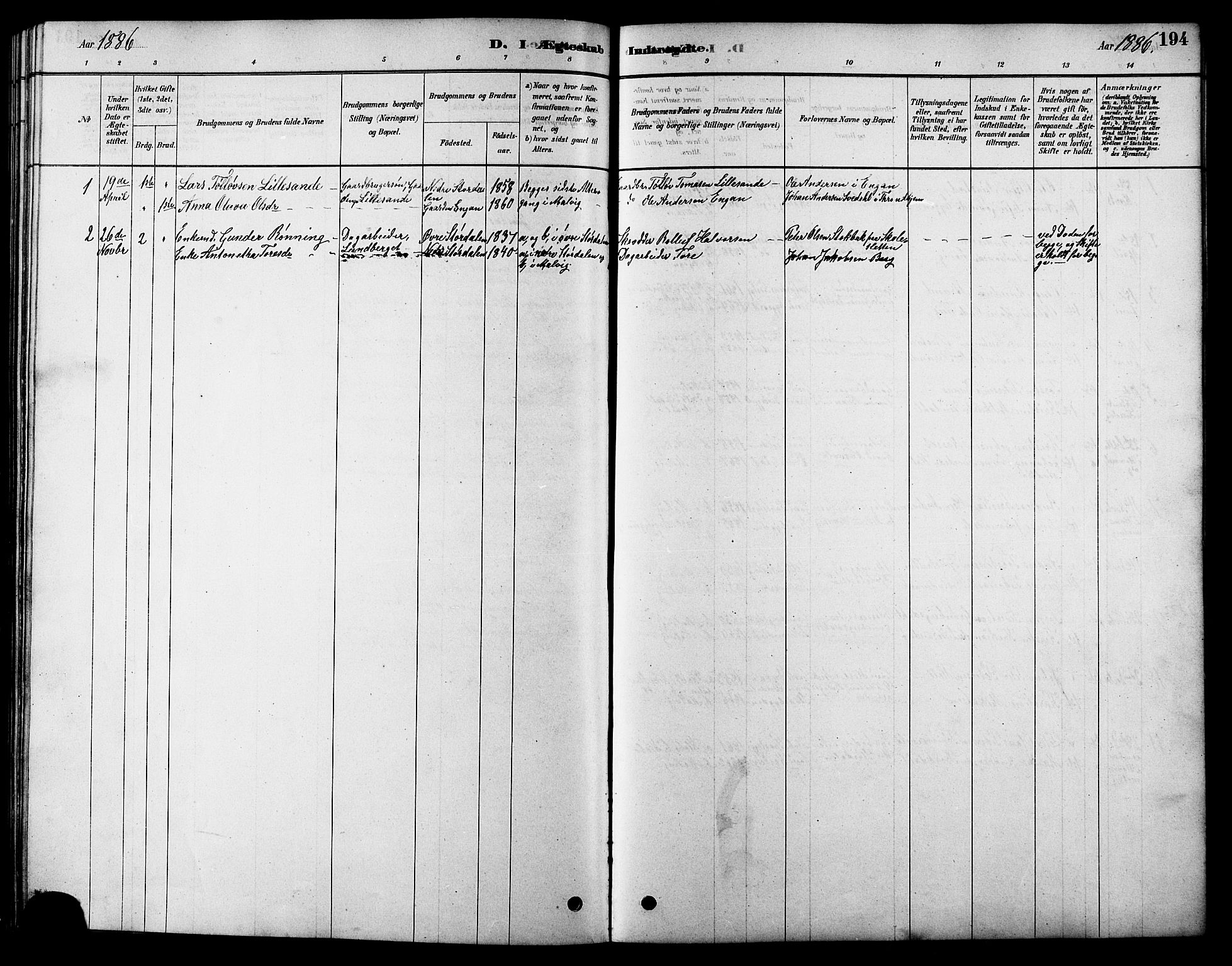 SAT, Ministerialprotokoller, klokkerbøker og fødselsregistre - Sør-Trøndelag, 616/L0423: Klokkerbok nr. 616C06, 1878-1903, s. 194