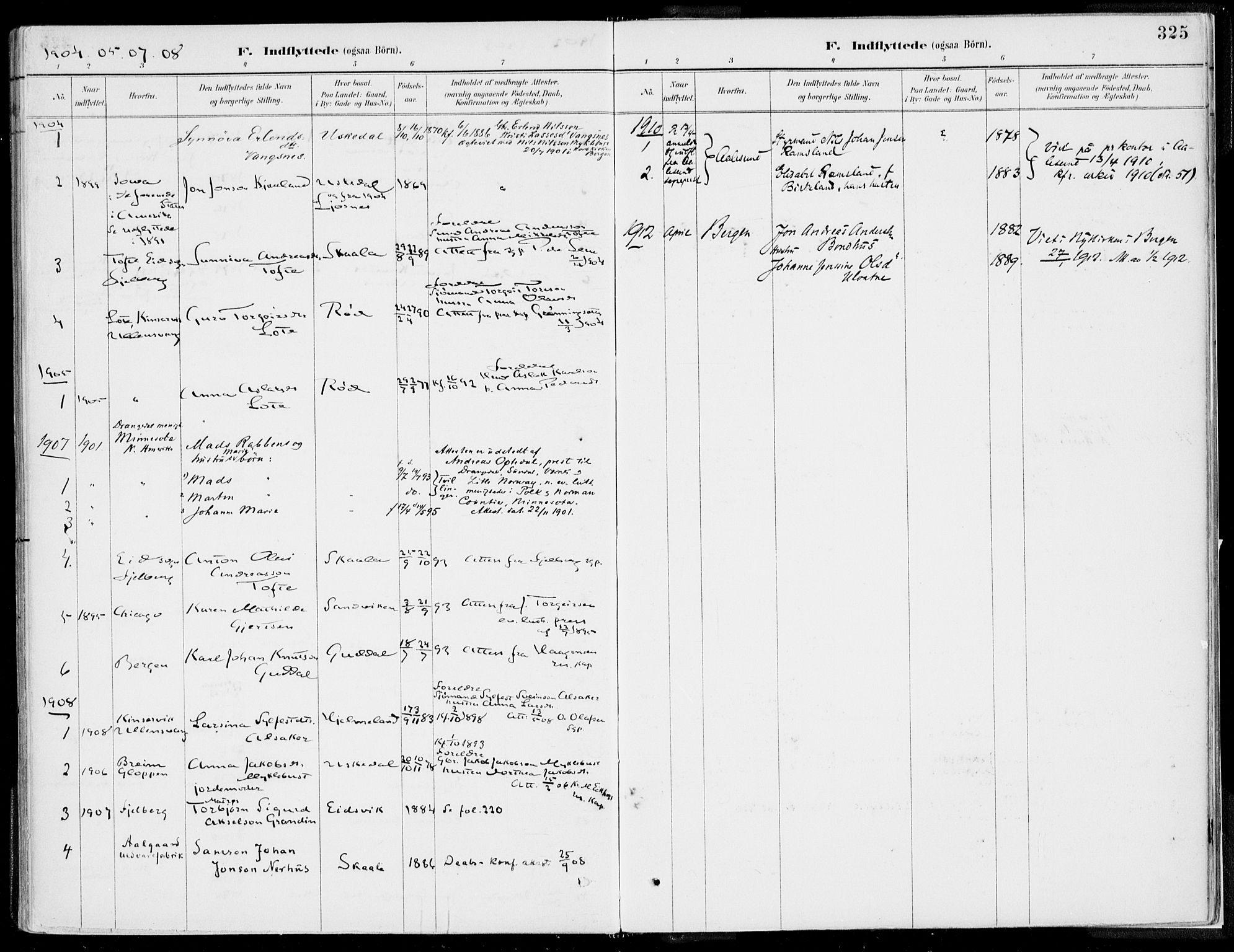 SAB, Kvinnherad Sokneprestembete, H/Haa: Ministerialbok nr. B  1, 1887-1921, s. 325
