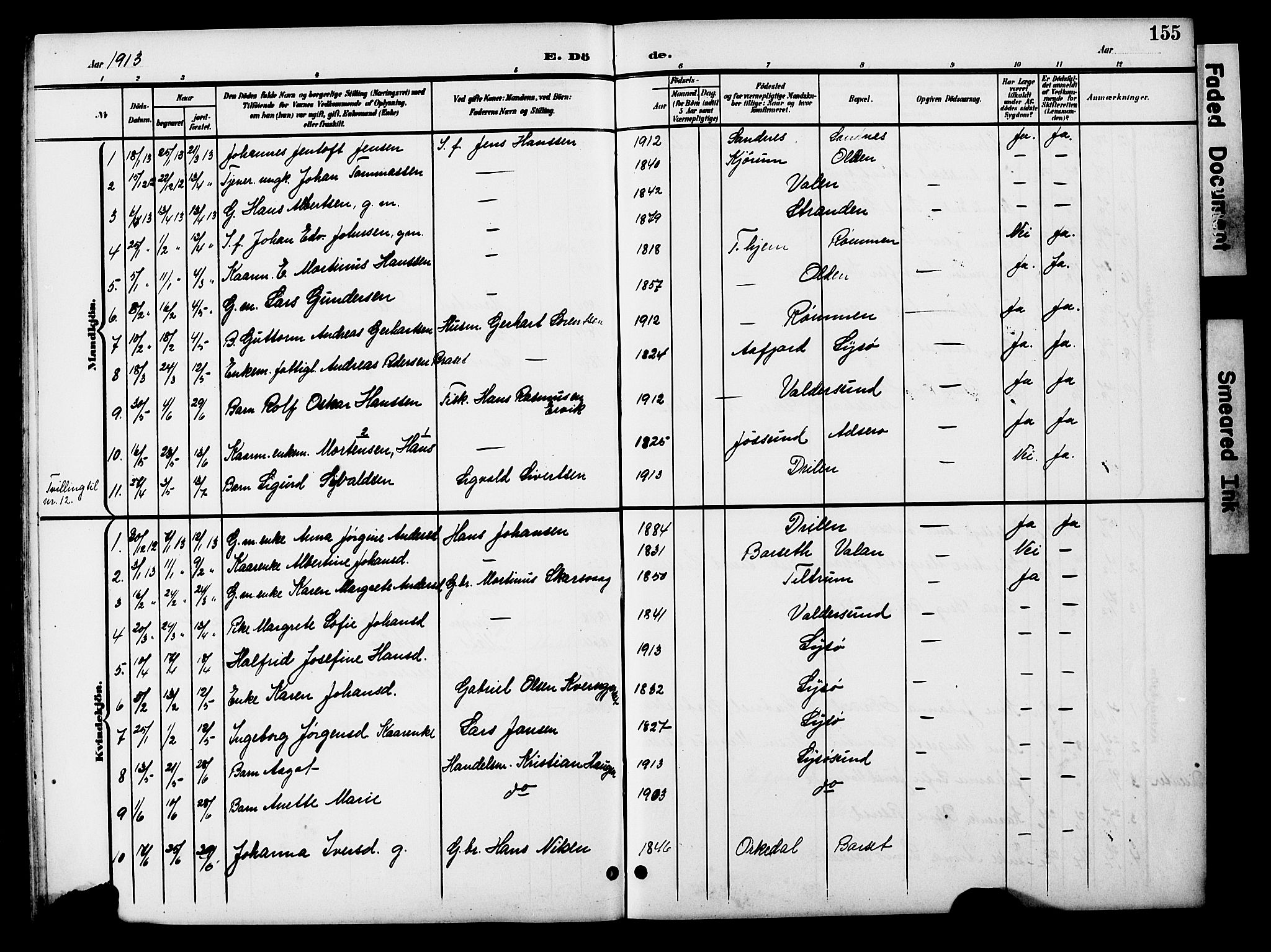 SAT, Ministerialprotokoller, klokkerbøker og fødselsregistre - Sør-Trøndelag, 654/L0666: Klokkerbok nr. 654C02, 1901-1925, s. 155