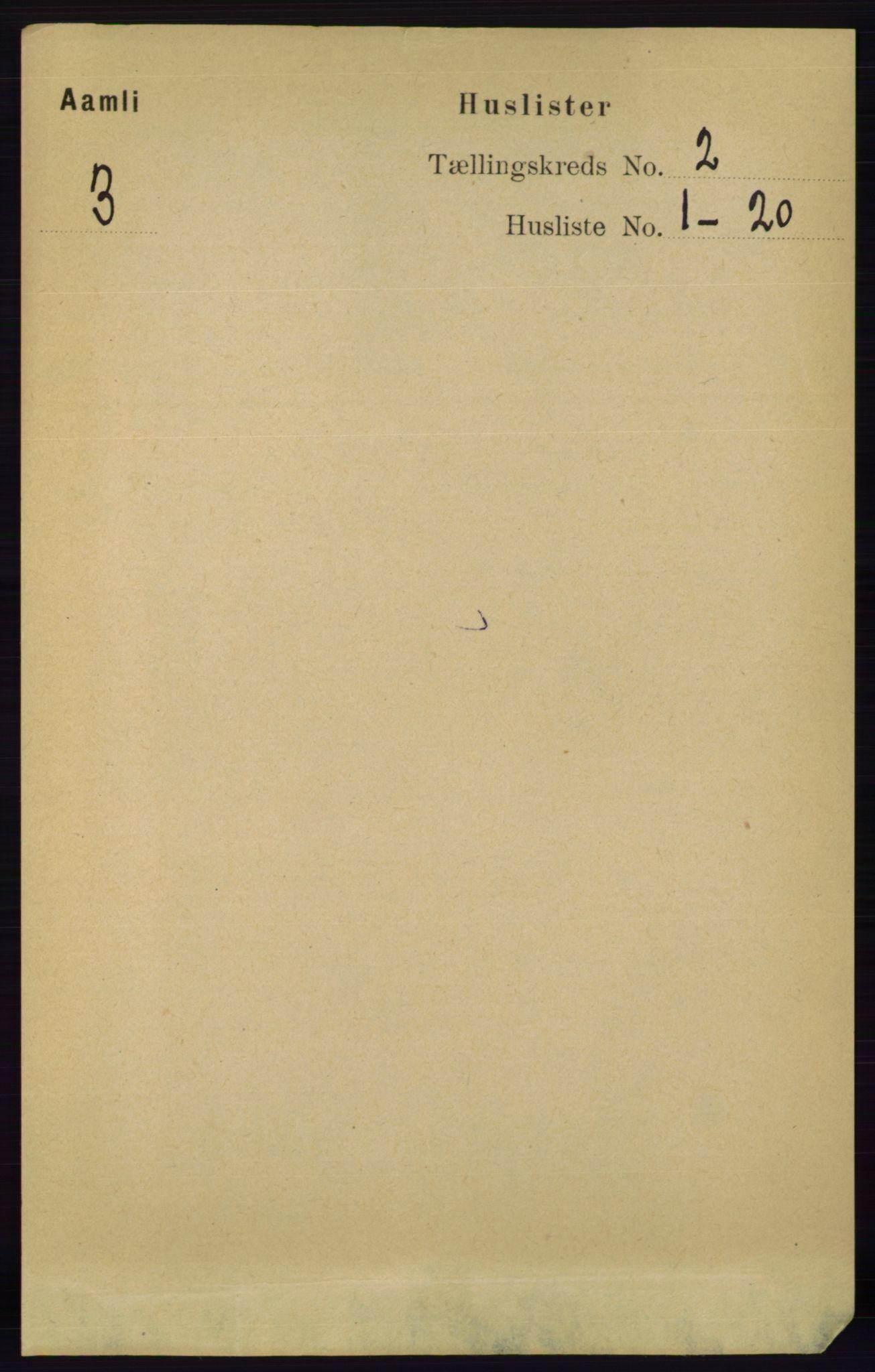 RA, Folketelling 1891 for 0929 Åmli herred, 1891, s. 147