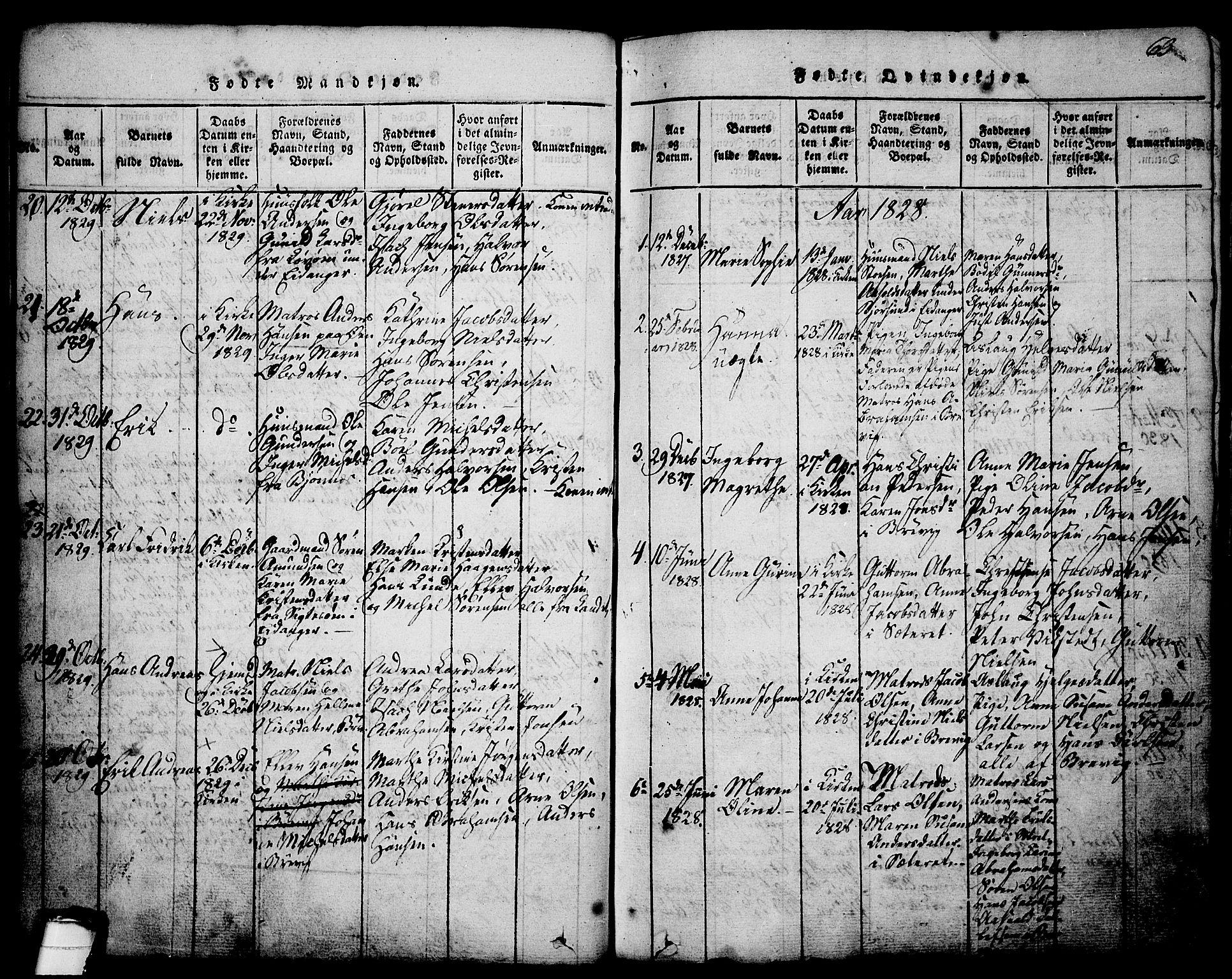 SAKO, Brevik kirkebøker, G/Ga/L0001: Klokkerbok nr. 1, 1814-1845, s. 63