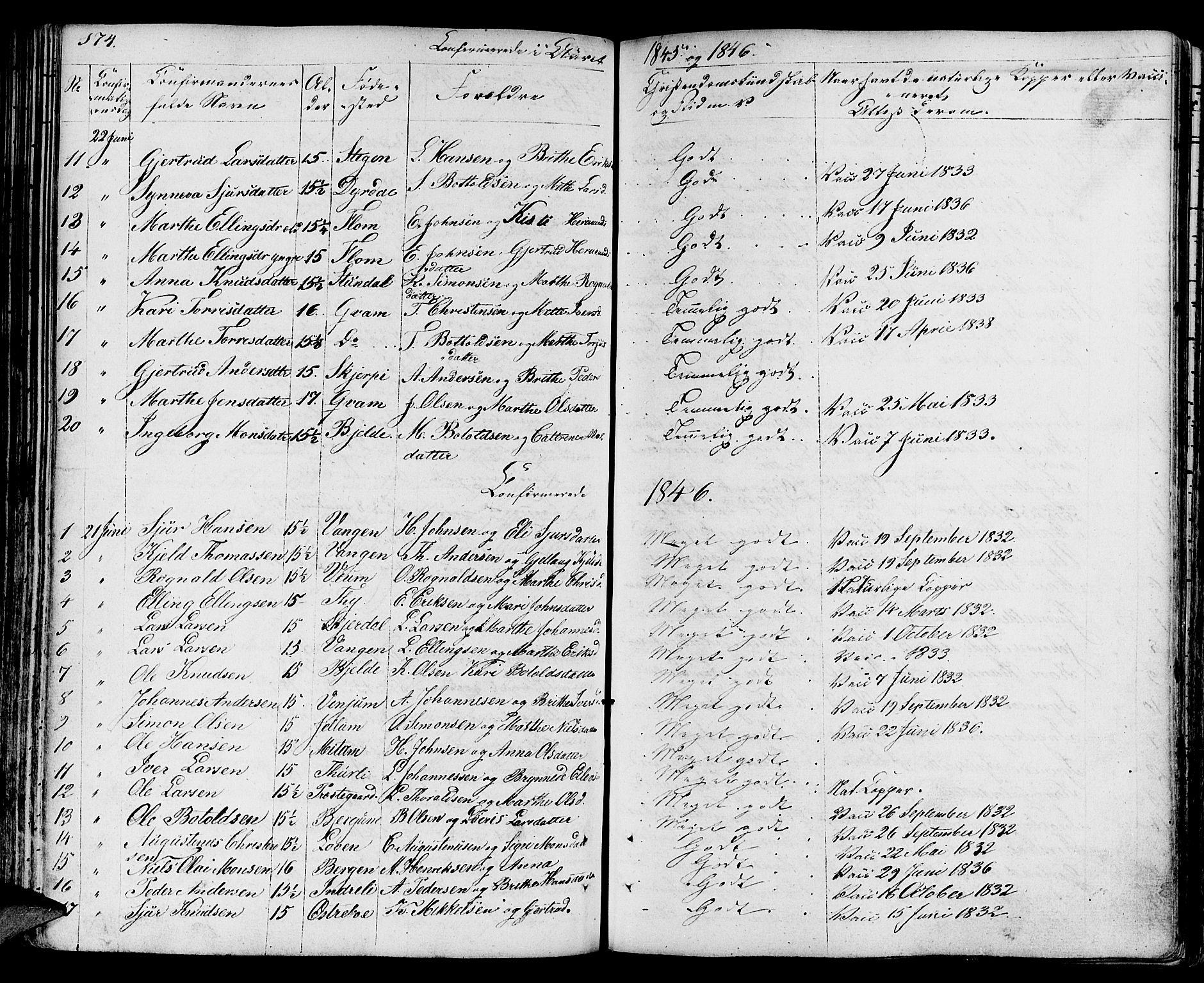SAB, Aurland Sokneprestembete*, Ministerialbok nr. A 6, 1821-1859, s. 174