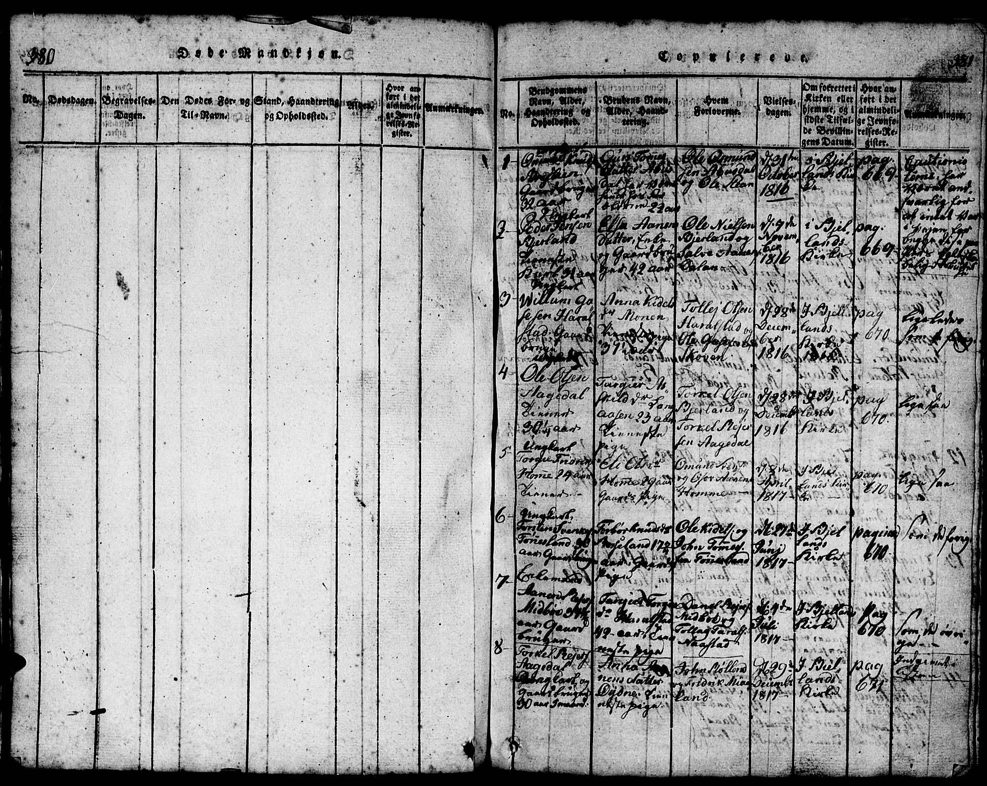 SAK, Bjelland sokneprestkontor, F/Fb/Fba/L0003: Klokkerbok nr. B 3, 1816-1870, s. 380-381