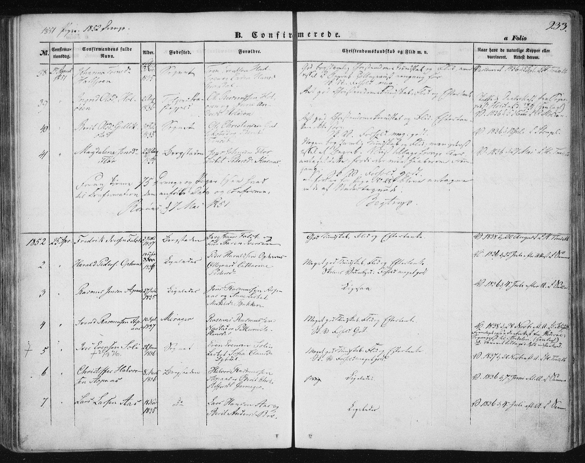 SAT, Ministerialprotokoller, klokkerbøker og fødselsregistre - Sør-Trøndelag, 681/L0931: Ministerialbok nr. 681A09, 1845-1859, s. 233