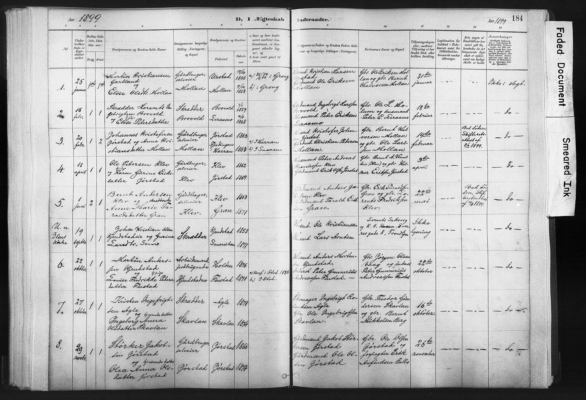 SAT, Ministerialprotokoller, klokkerbøker og fødselsregistre - Nord-Trøndelag, 749/L0474: Ministerialbok nr. 749A08, 1887-1903, s. 184