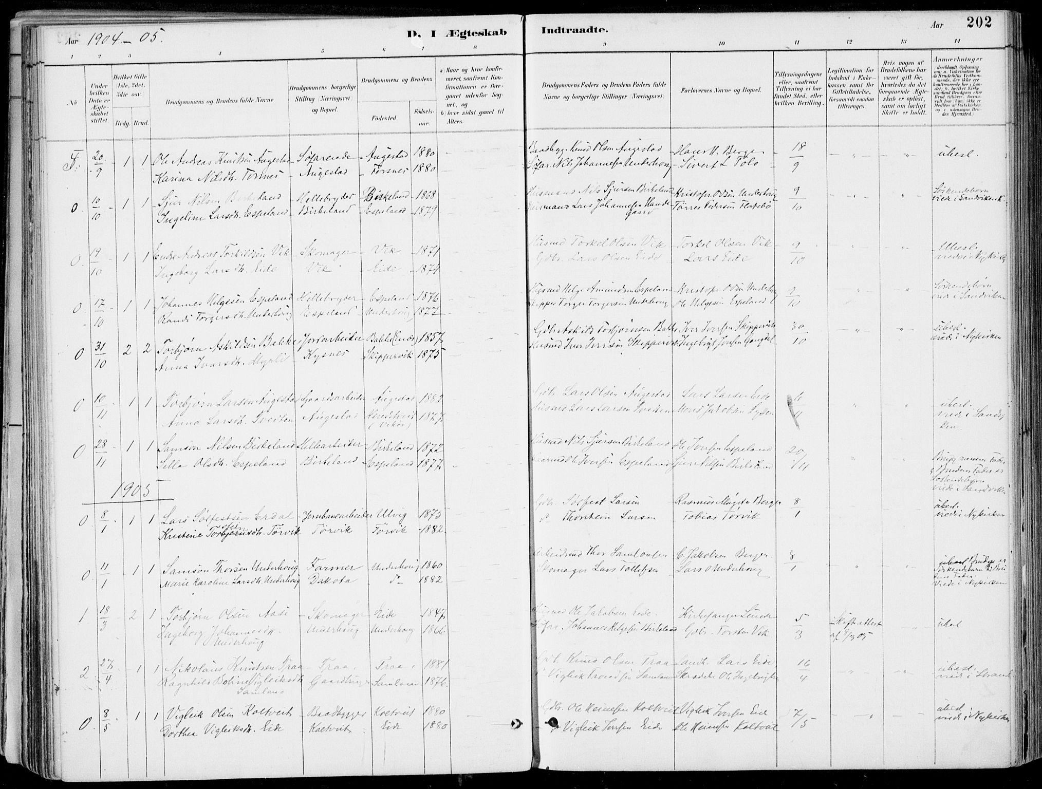 SAB, Strandebarm Sokneprestembete, H/Haa: Ministerialbok nr. E  1, 1886-1908, s. 202