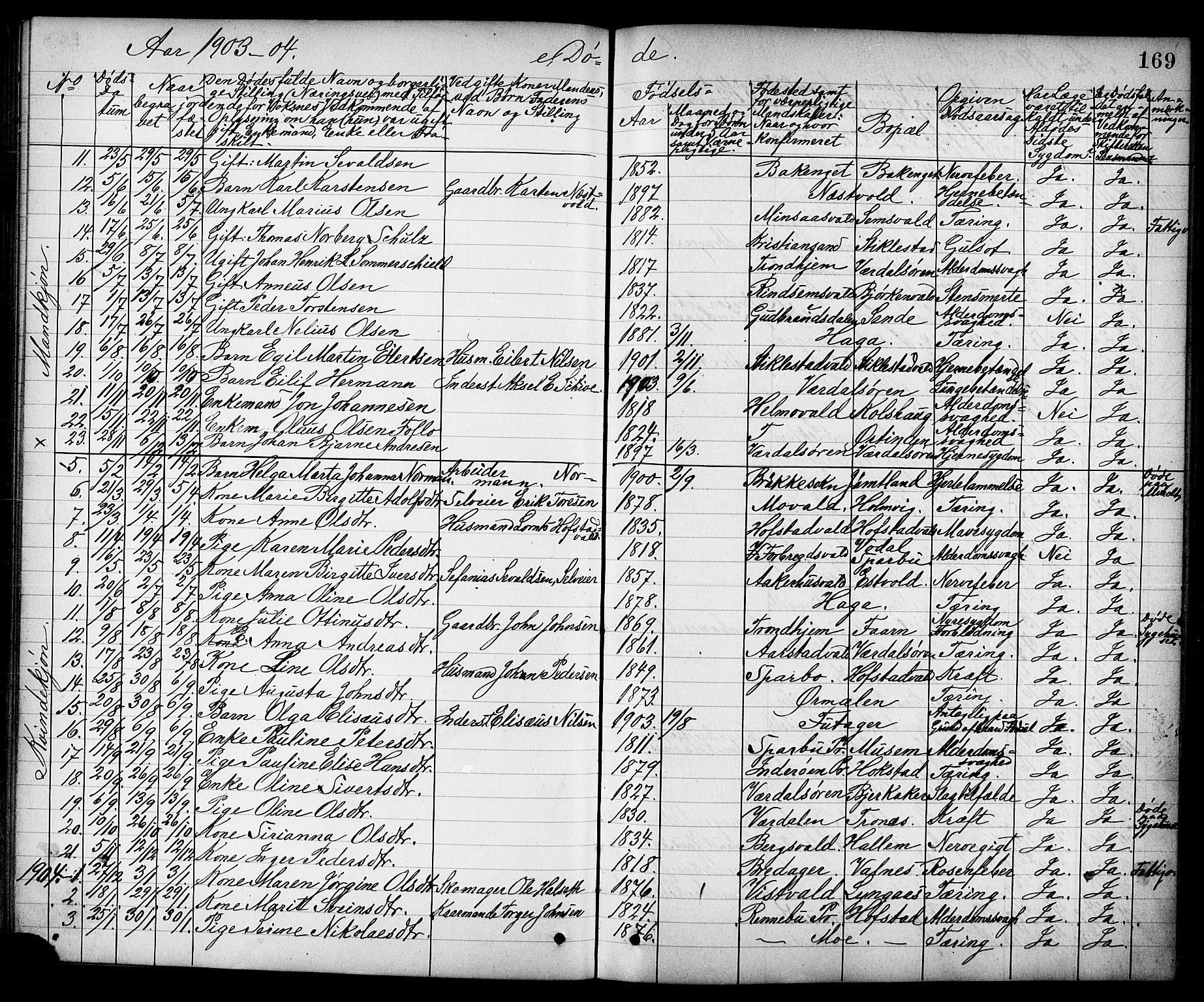 SAT, Ministerialprotokoller, klokkerbøker og fødselsregistre - Nord-Trøndelag, 723/L0257: Klokkerbok nr. 723C05, 1890-1907, s. 169