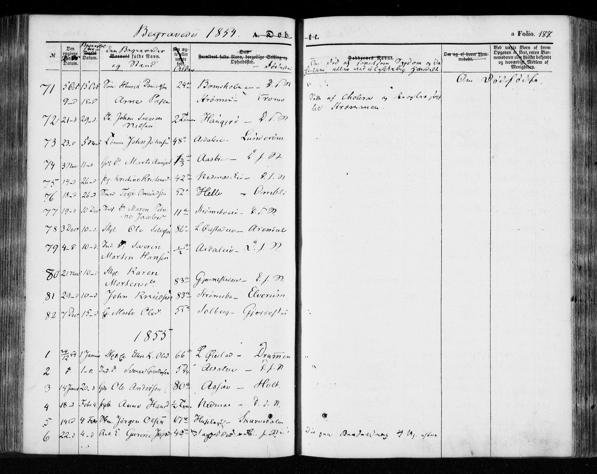 SAK, Øyestad sokneprestkontor, F/Fa/L0014: Ministerialbok nr. A 14, 1843-1856, s. 188