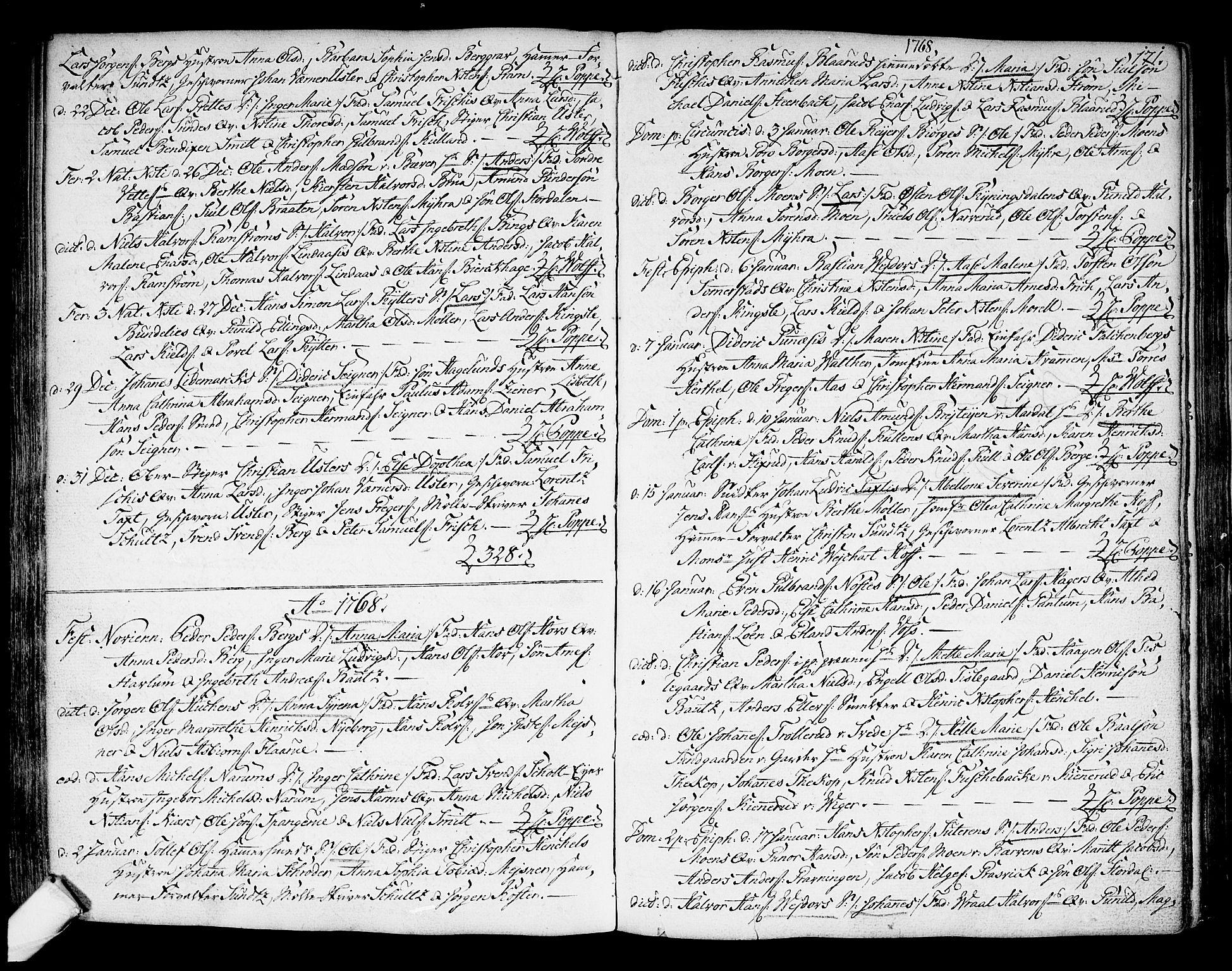 SAKO, Kongsberg kirkebøker, F/Fa/L0004: Ministerialbok nr. I 4, 1756-1768, s. 171