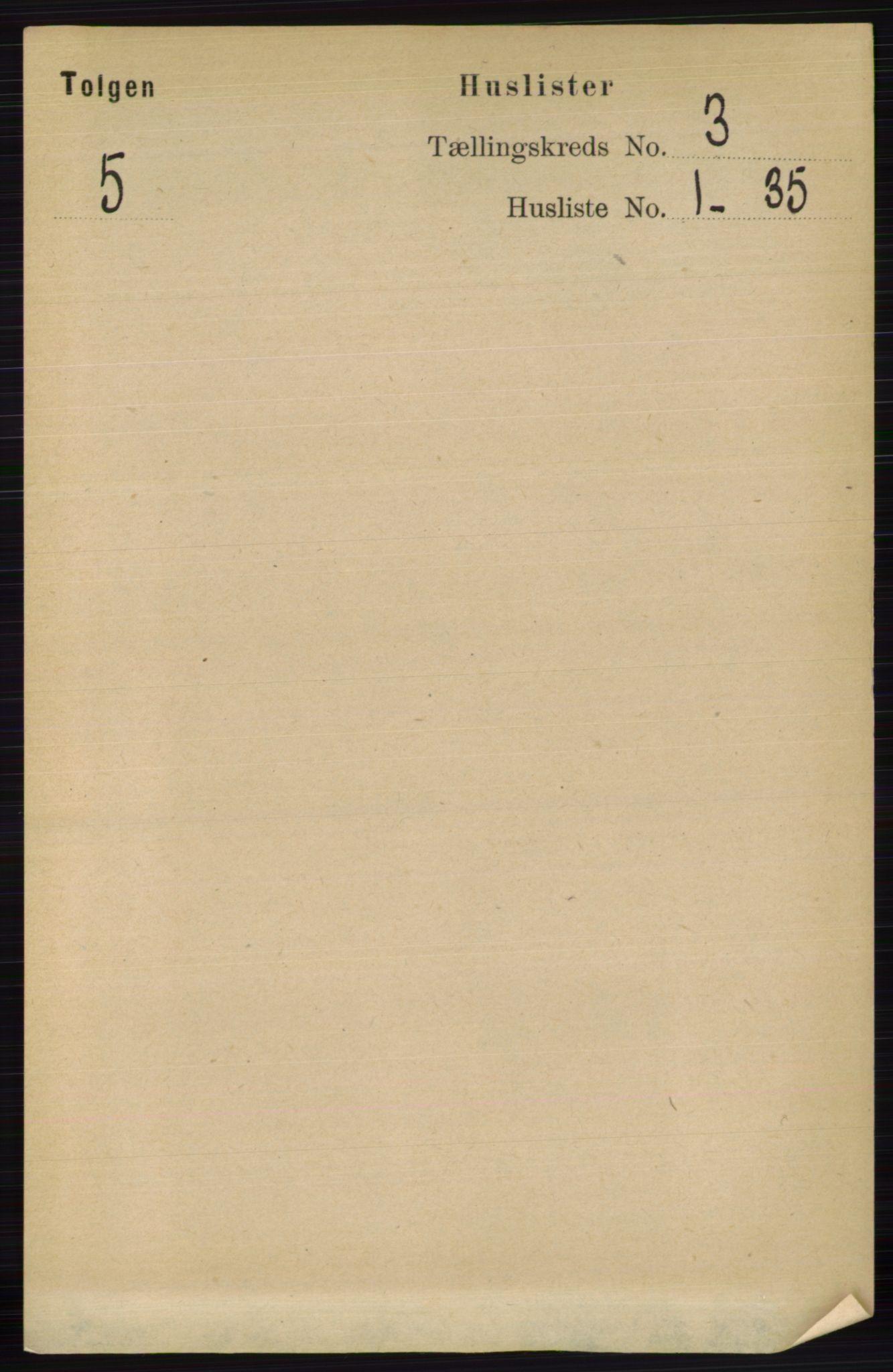 RA, Folketelling 1891 for 0436 Tolga herred, 1891, s. 497