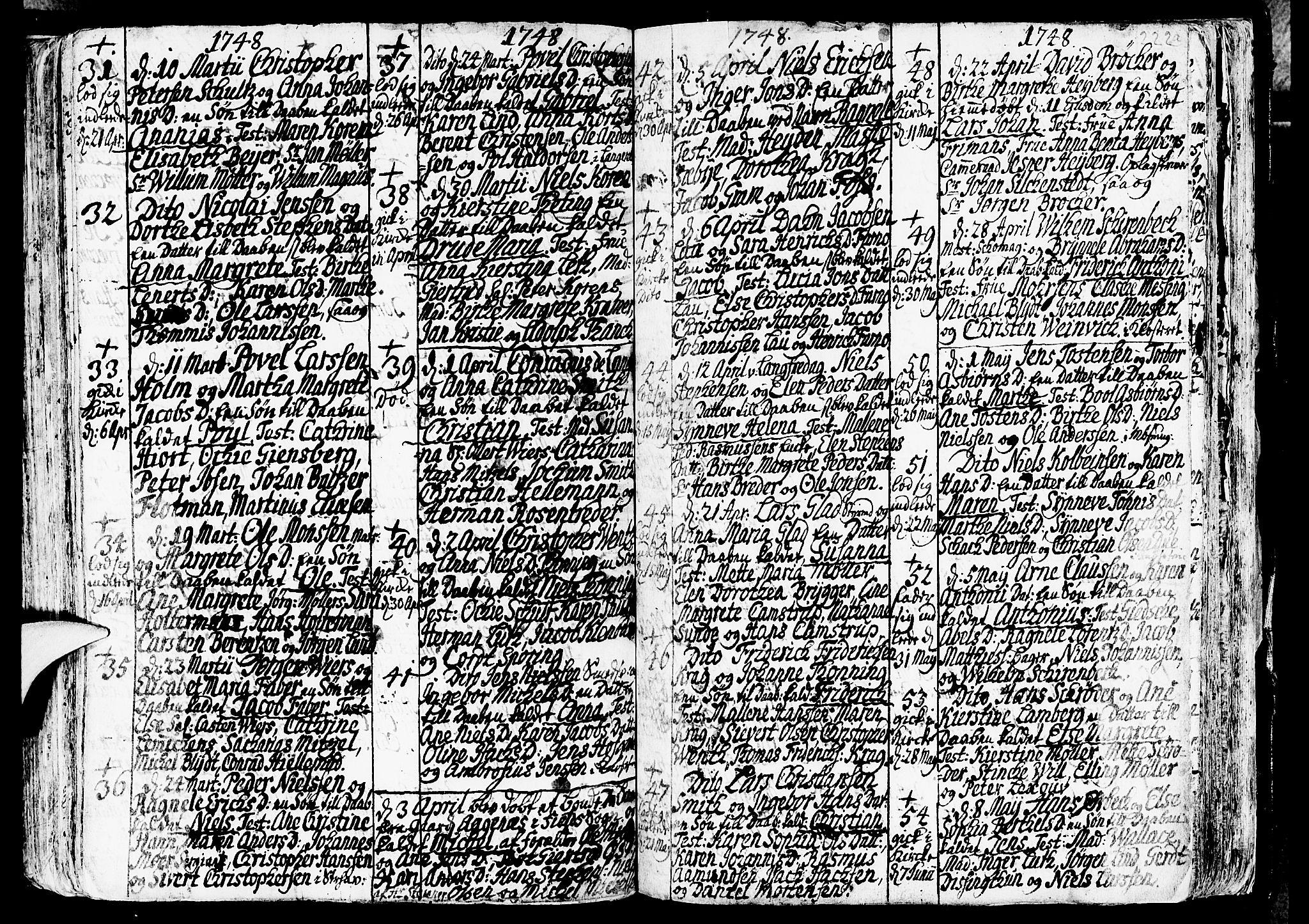 SAB, Nykirken Sokneprestembete, H/Haa: Ministerialbok nr. A 3, 1717-1764, s. 222