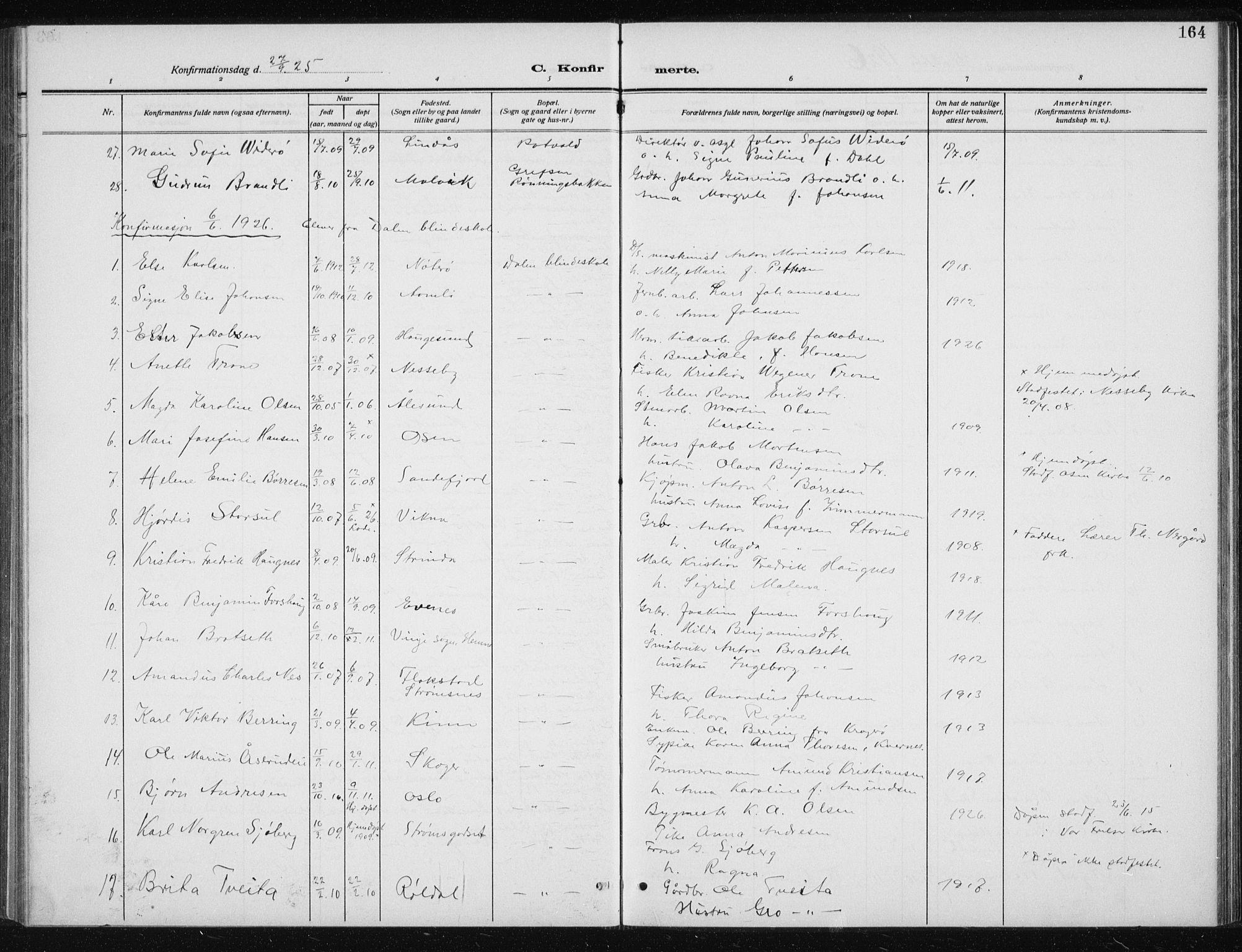 SAT, Ministerialprotokoller, klokkerbøker og fødselsregistre - Sør-Trøndelag, 606/L0314: Klokkerbok nr. 606C10, 1911-1937, s. 164
