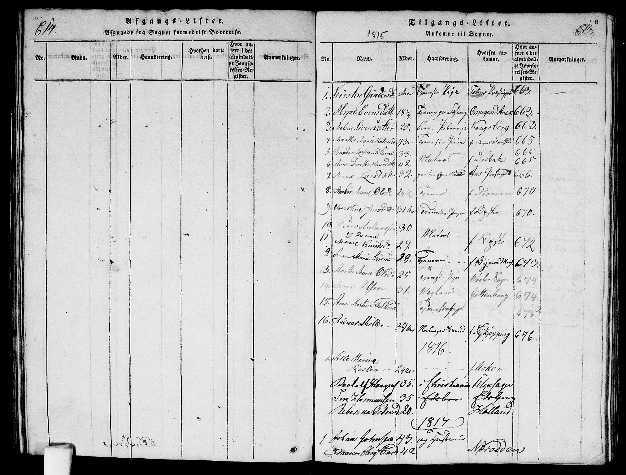 SAO, Garnisonsmenigheten Kirkebøker, G/Ga/L0003: Klokkerbok nr. 3, 1815-1819, s. 614-615