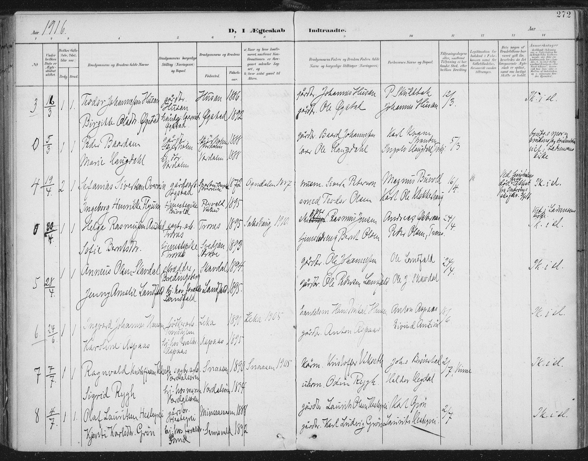 SAT, Ministerialprotokoller, klokkerbøker og fødselsregistre - Nord-Trøndelag, 723/L0246: Ministerialbok nr. 723A15, 1900-1917, s. 272