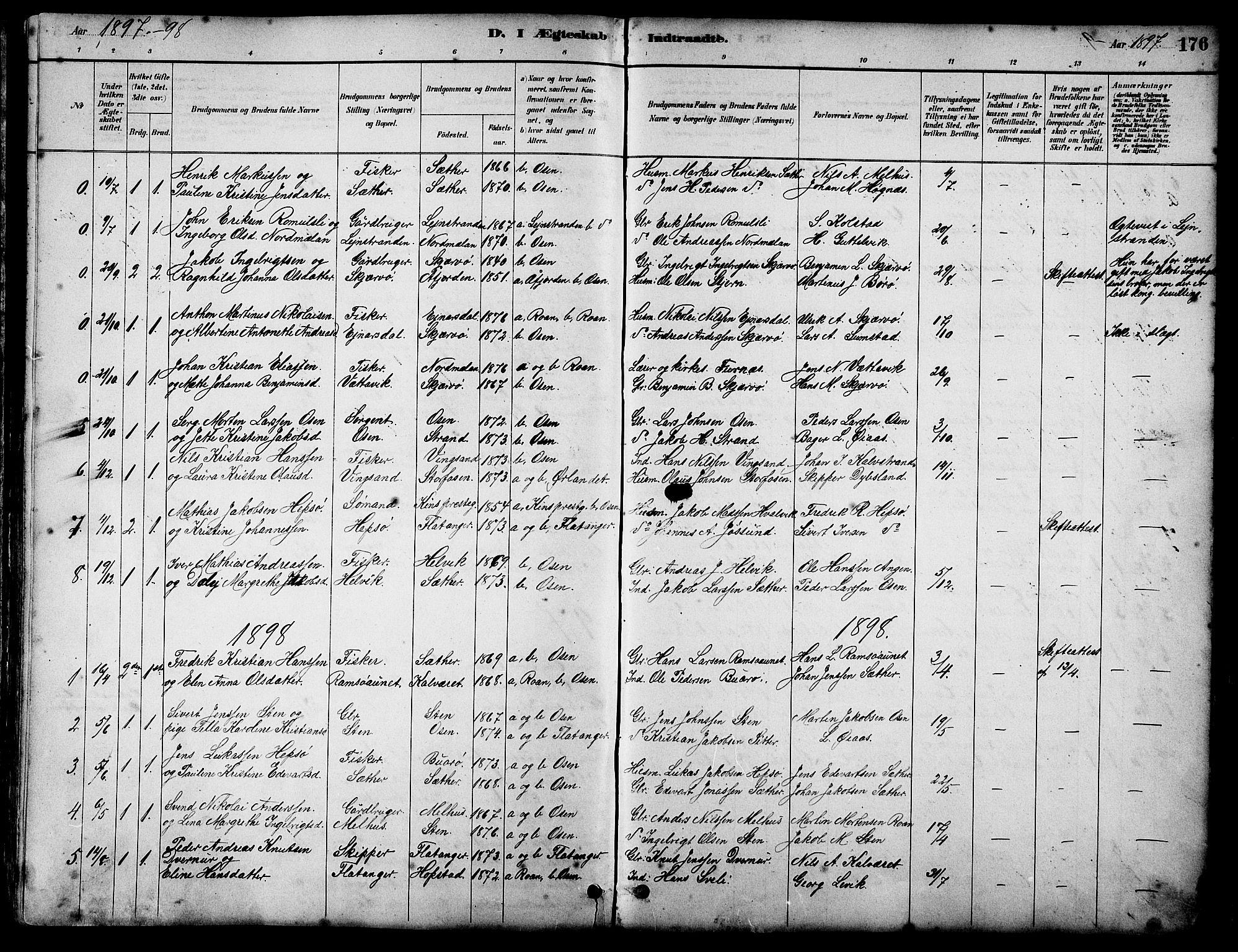 SAT, Ministerialprotokoller, klokkerbøker og fødselsregistre - Sør-Trøndelag, 658/L0726: Klokkerbok nr. 658C02, 1883-1908, s. 176