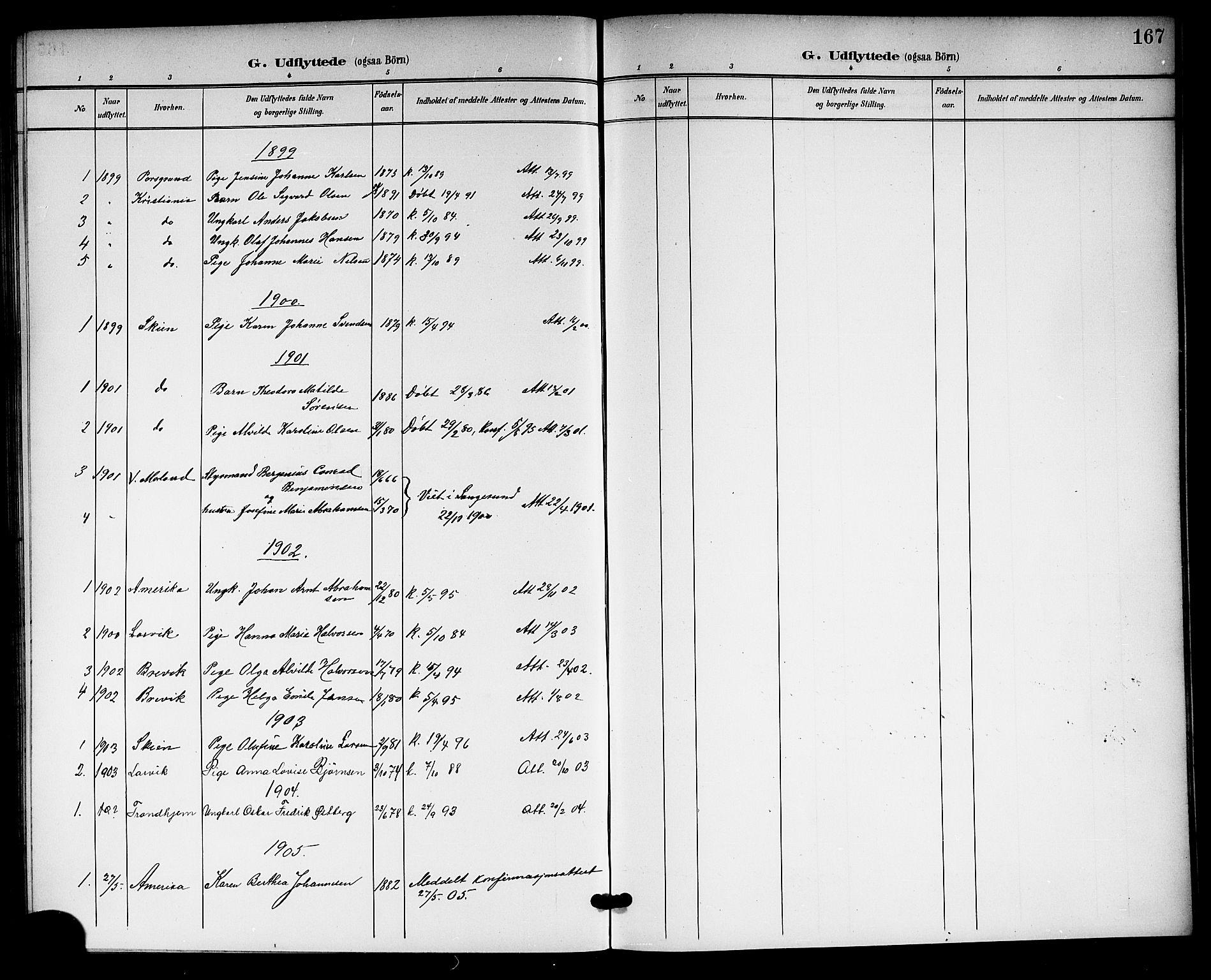 SAKO, Langesund kirkebøker, G/Ga/L0006: Klokkerbok nr. 6, 1899-1918, s. 167