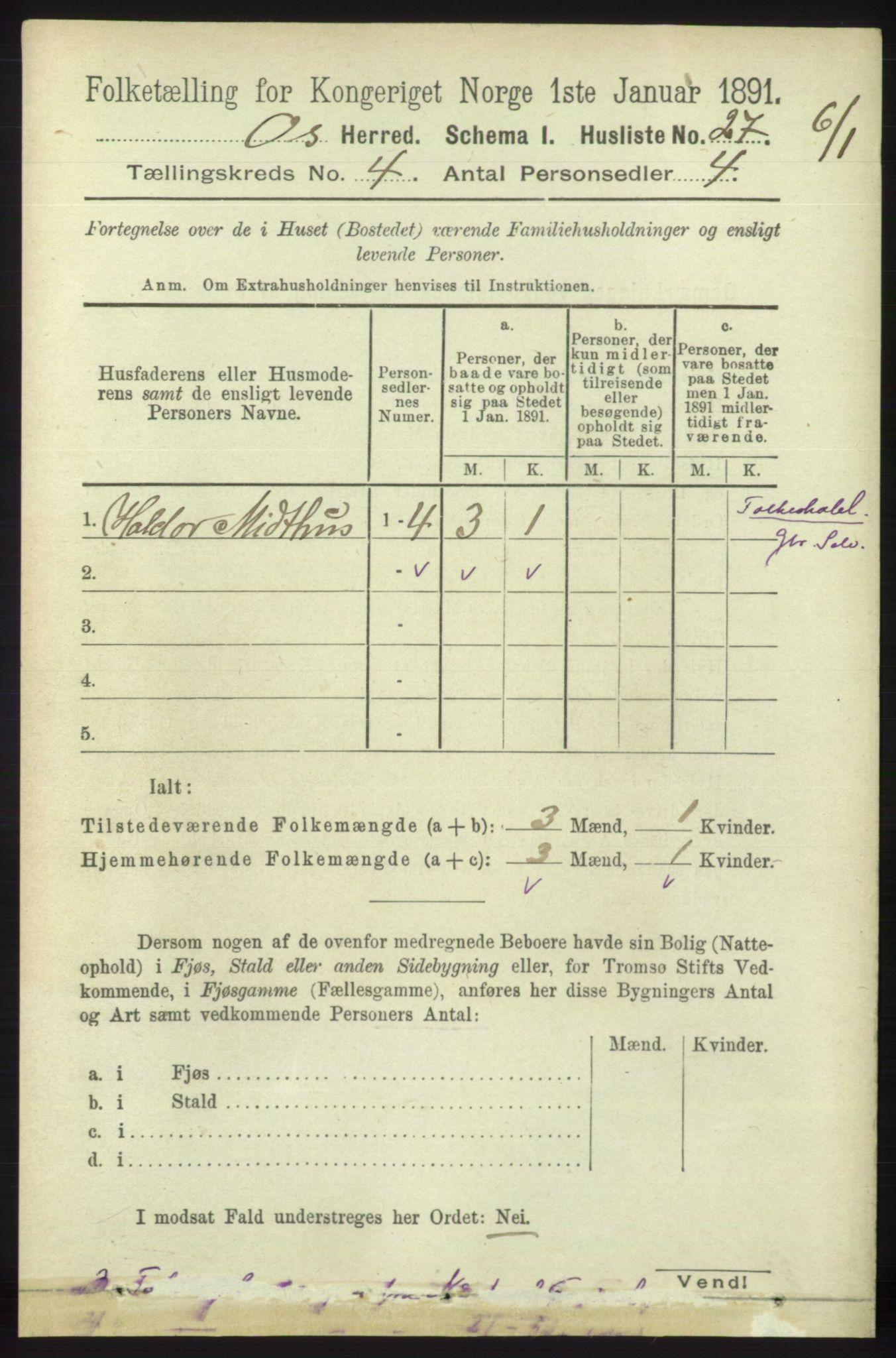 RA, Folketelling 1891 for 1243 Os herred, 1891, s. 1039