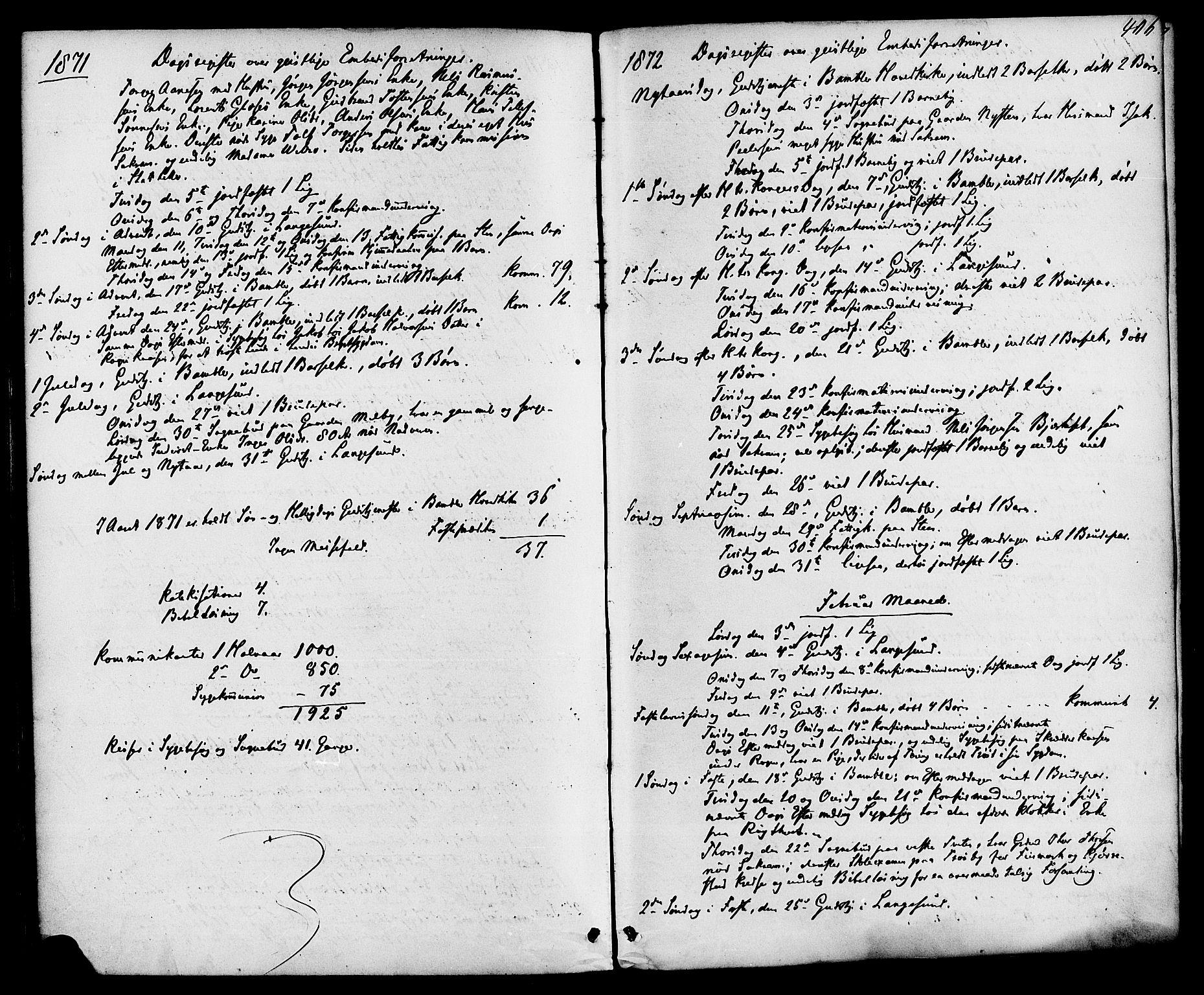 SAKO, Bamble kirkebøker, F/Fa/L0006: Ministerialbok nr. I 6, 1869-1877, s. 406