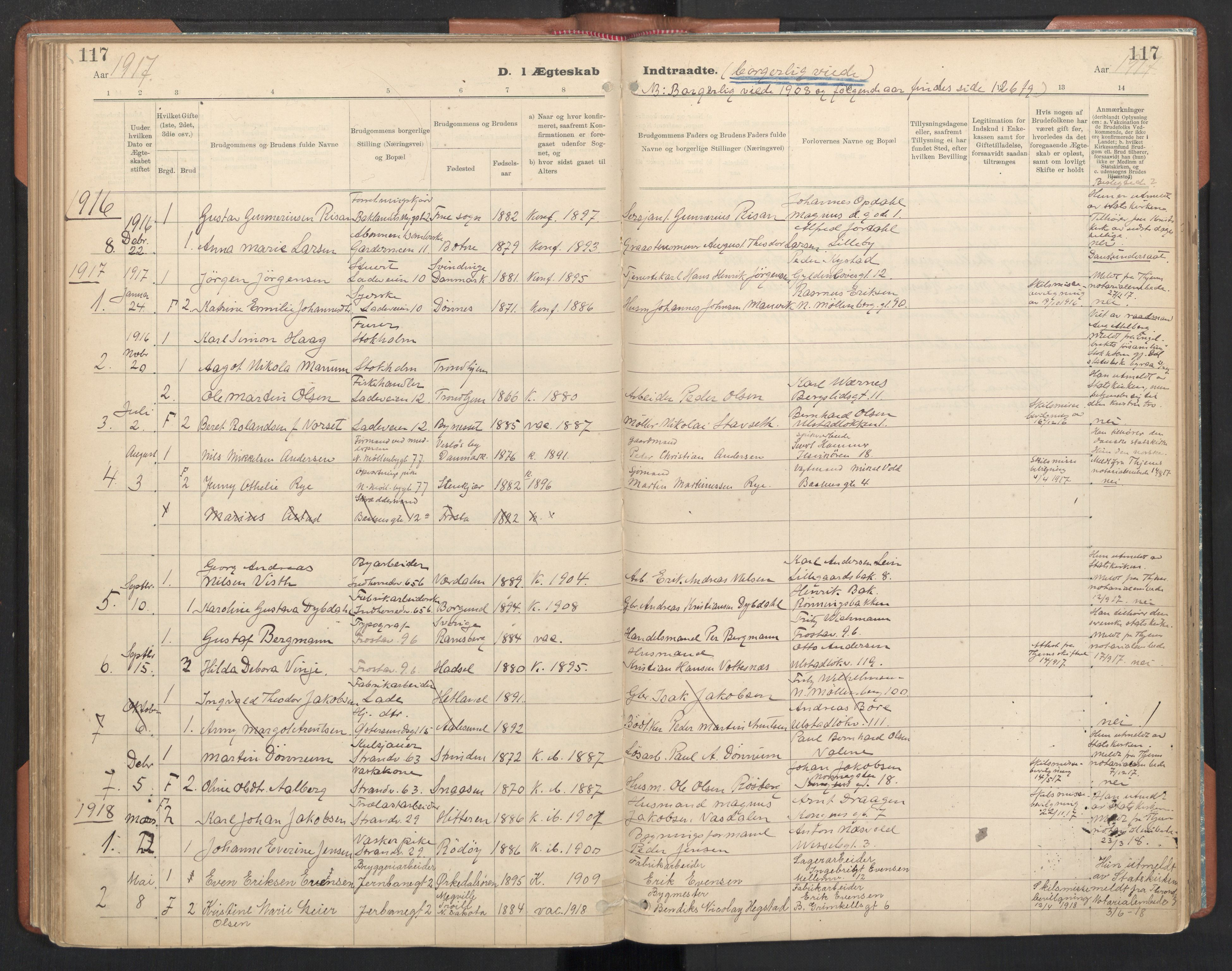 SAT, Ministerialprotokoller, klokkerbøker og fødselsregistre - Sør-Trøndelag, 605/L0244: Ministerialbok nr. 605A06, 1908-1954, s. 117