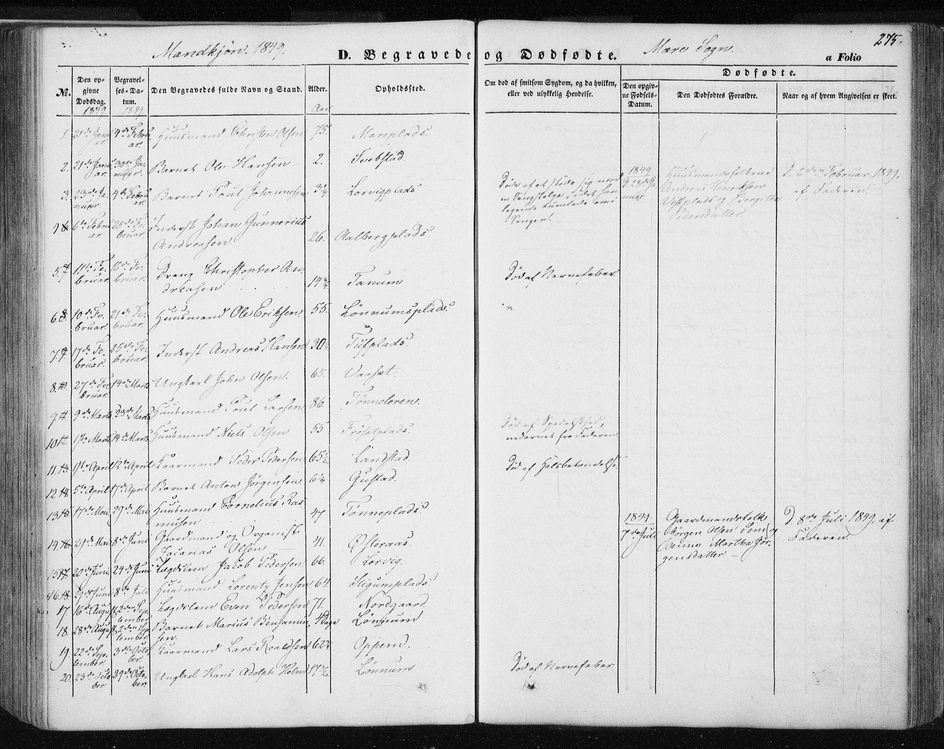 SAT, Ministerialprotokoller, klokkerbøker og fødselsregistre - Nord-Trøndelag, 735/L0342: Ministerialbok nr. 735A07 /1, 1849-1862, s. 275