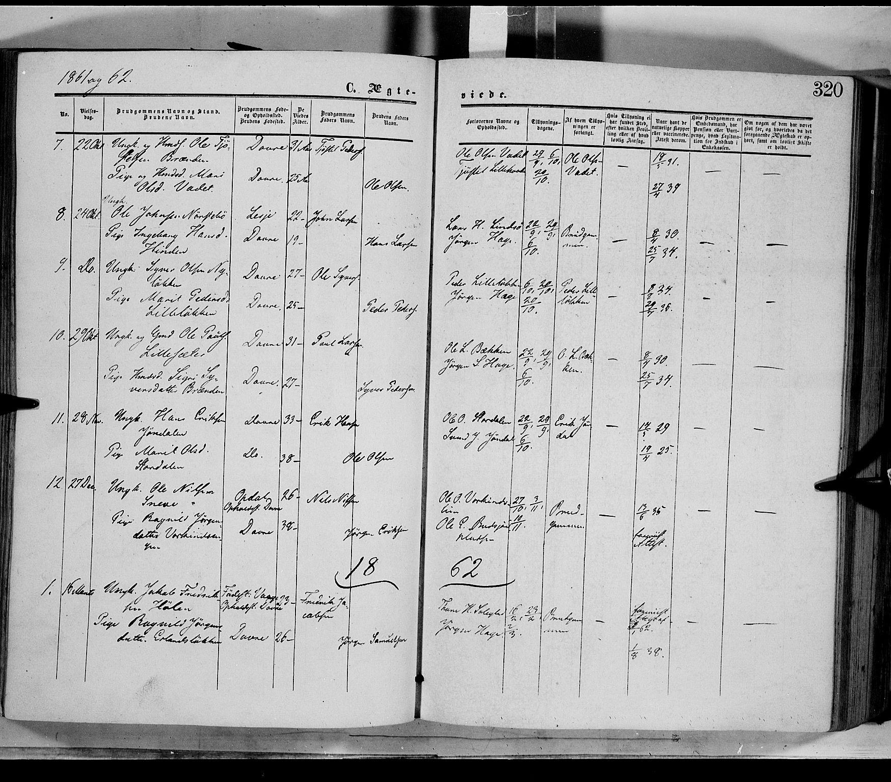 SAH, Dovre prestekontor, Ministerialbok nr. 1, 1854-1878, s. 320