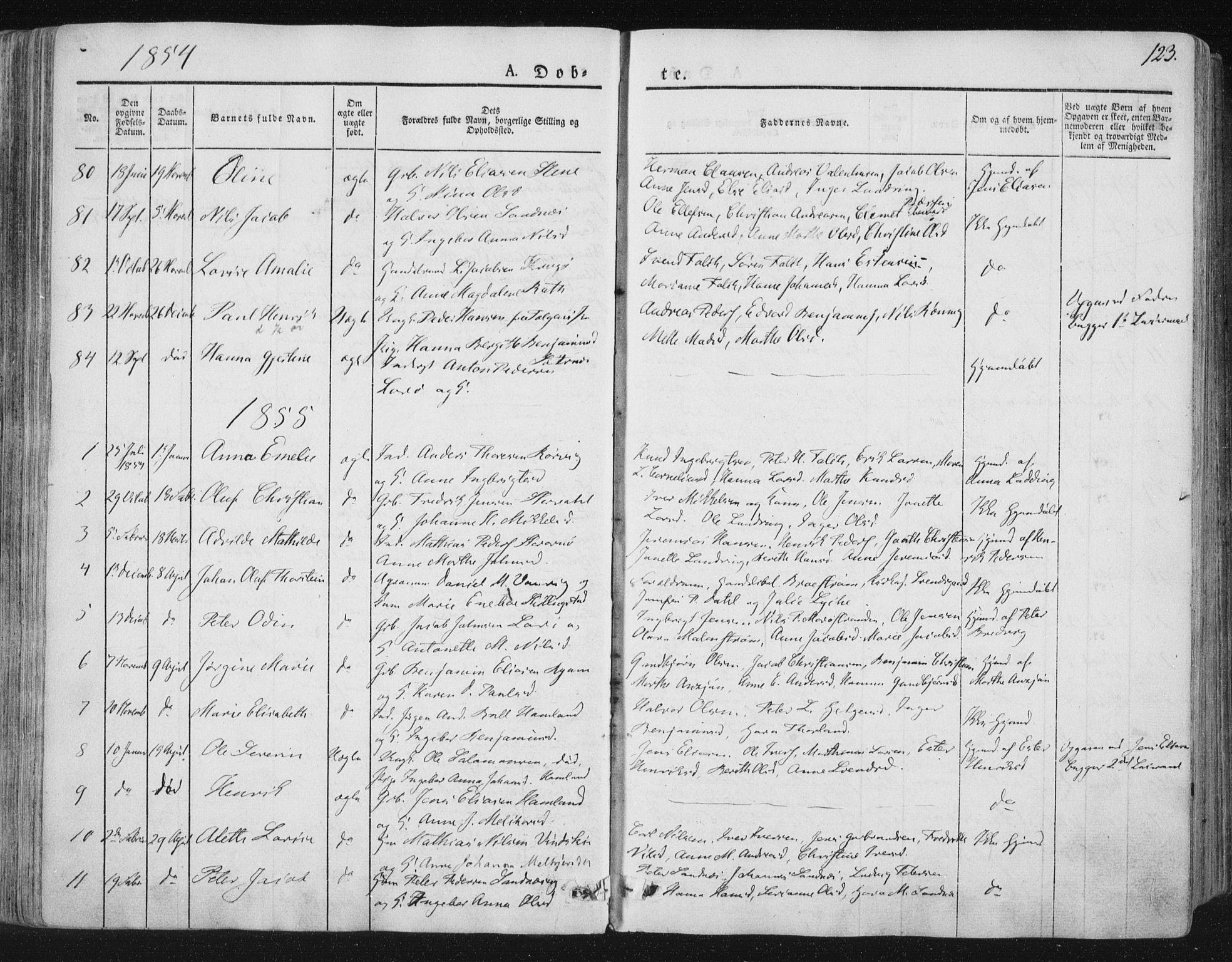SAT, Ministerialprotokoller, klokkerbøker og fødselsregistre - Nord-Trøndelag, 784/L0669: Ministerialbok nr. 784A04, 1829-1859, s. 123