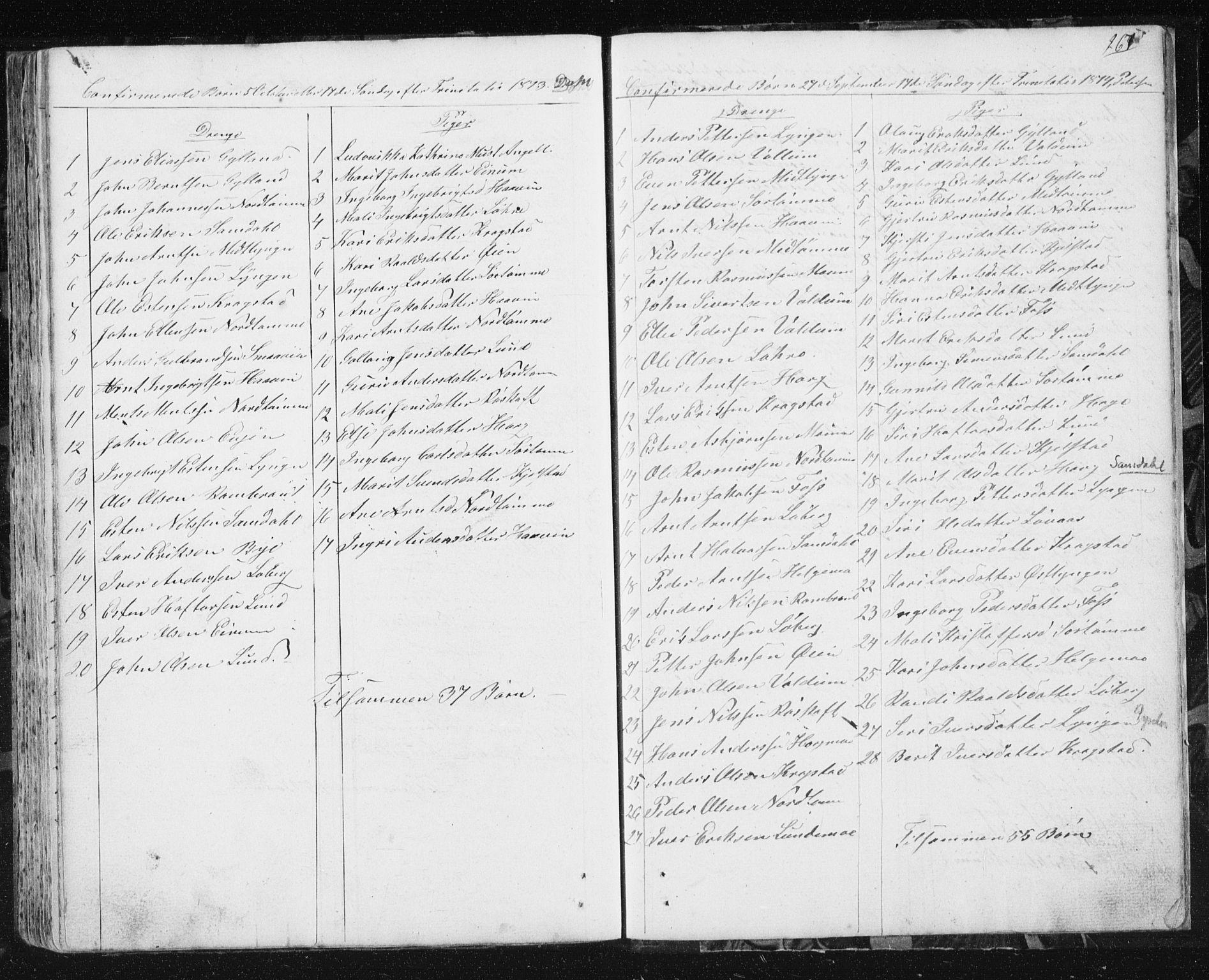 SAT, Ministerialprotokoller, klokkerbøker og fødselsregistre - Sør-Trøndelag, 692/L1110: Klokkerbok nr. 692C05, 1849-1889, s. 267