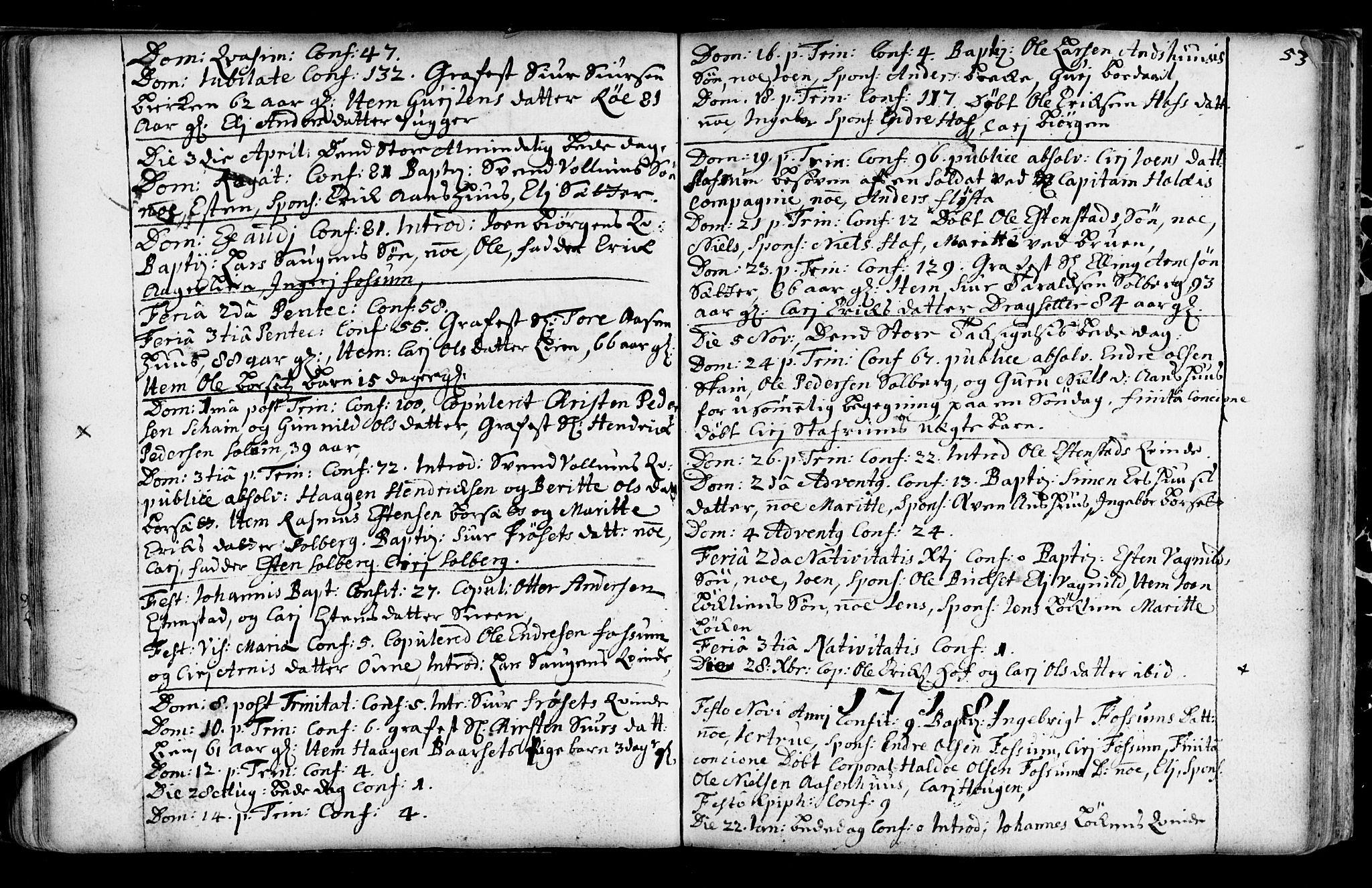 SAT, Ministerialprotokoller, klokkerbøker og fødselsregistre - Sør-Trøndelag, 689/L1036: Ministerialbok nr. 689A01, 1696-1746, s. 53