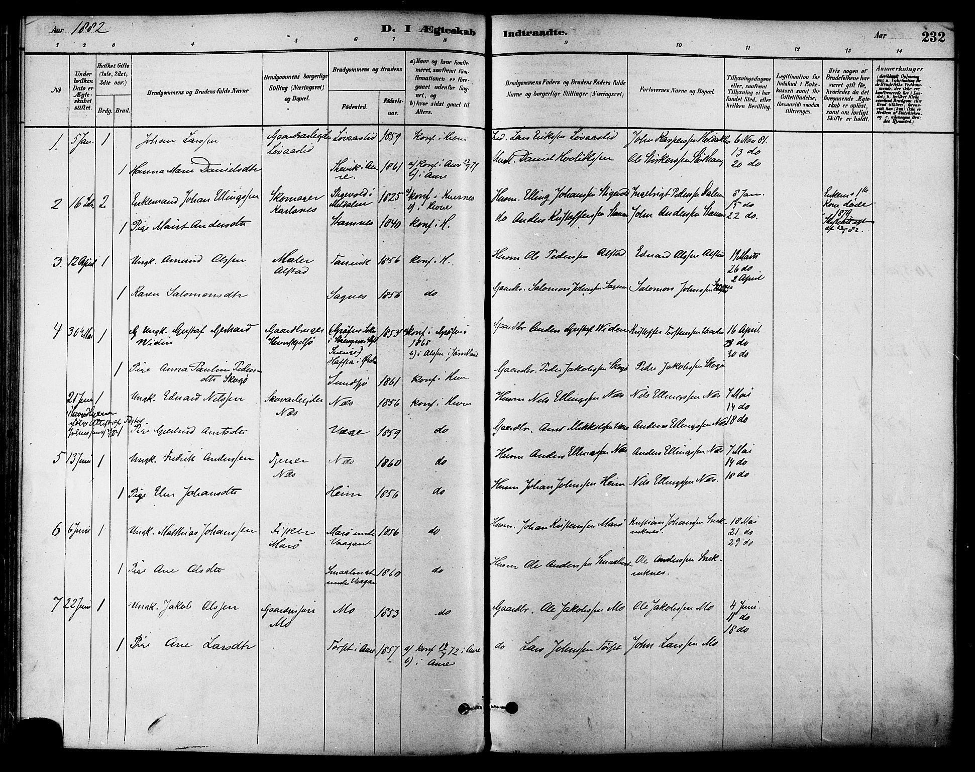 SAT, Ministerialprotokoller, klokkerbøker og fødselsregistre - Sør-Trøndelag, 630/L0496: Ministerialbok nr. 630A09, 1879-1895, s. 232
