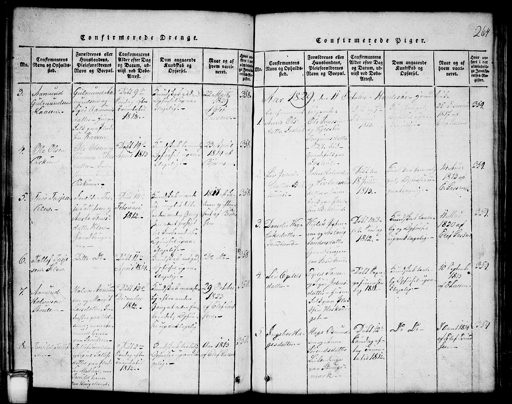 SAKO, Kviteseid kirkebøker, G/Gb/L0001: Klokkerbok nr. II 1, 1815-1842, s. 264