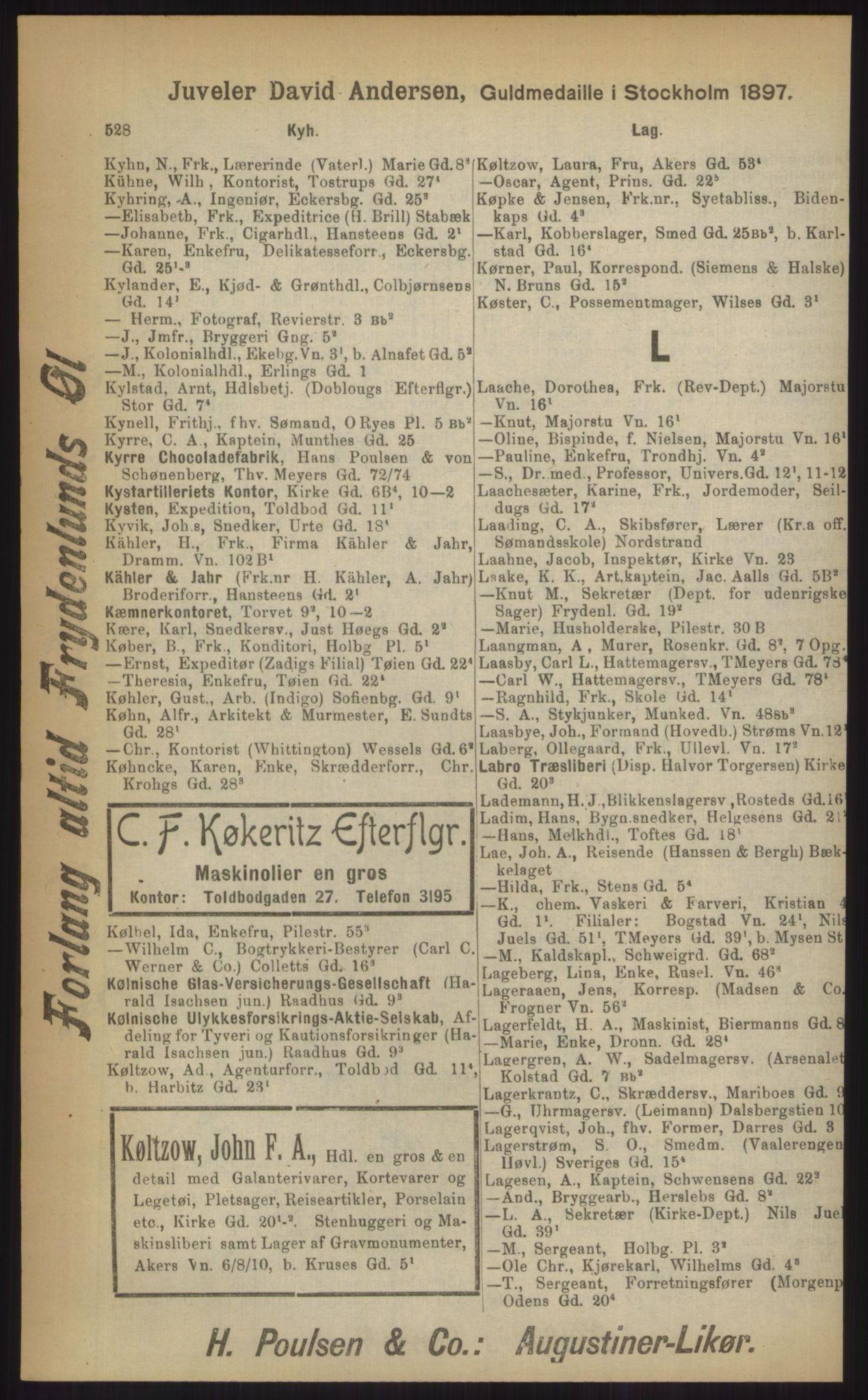 RA, Kristiania adressebok (publikasjon)*, 1903, s. 528
