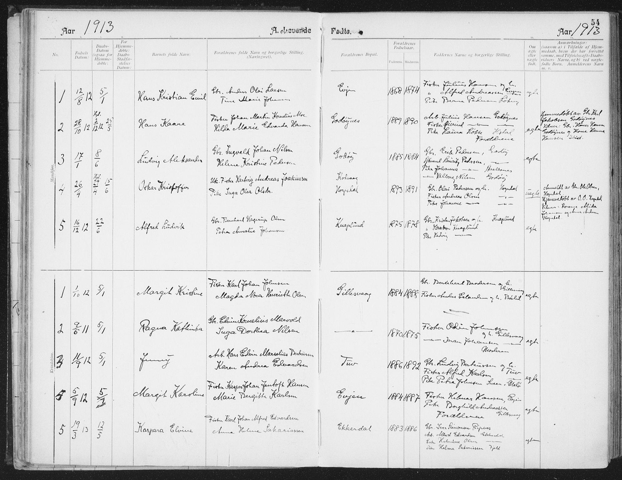 SAT, Ministerialprotokoller, klokkerbøker og fødselsregistre - Nordland, 804/L0081: Ministerialbok nr. 804A02, 1901-1915, s. 54