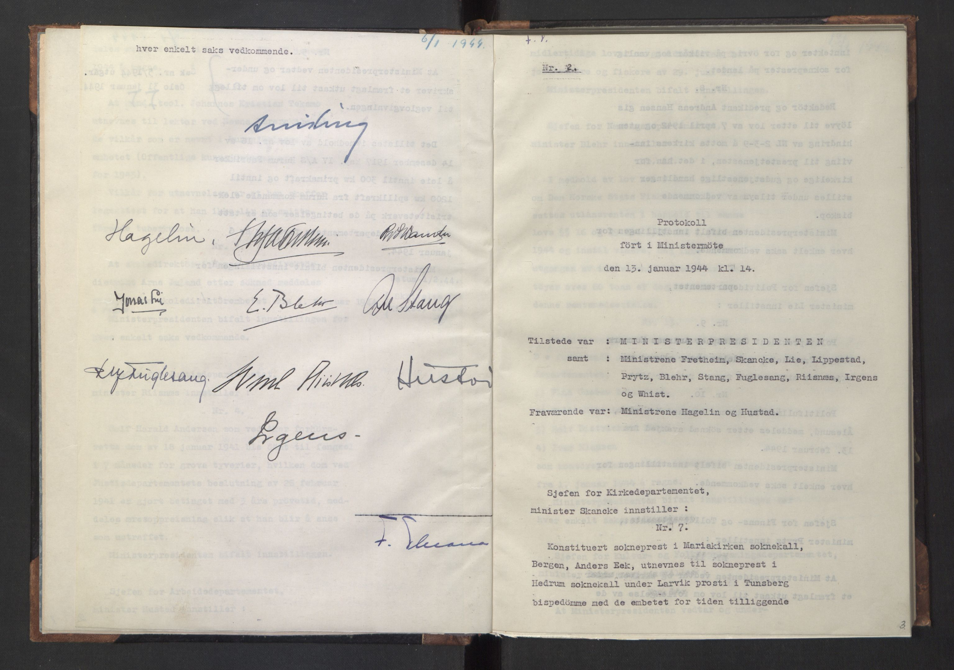 RA, NS-administrasjonen 1940-1945 (Statsrådsekretariatet, de kommisariske statsråder mm), D/Da/L0005: Protokoll fra ministermøter, 1944, s. 2b-3a