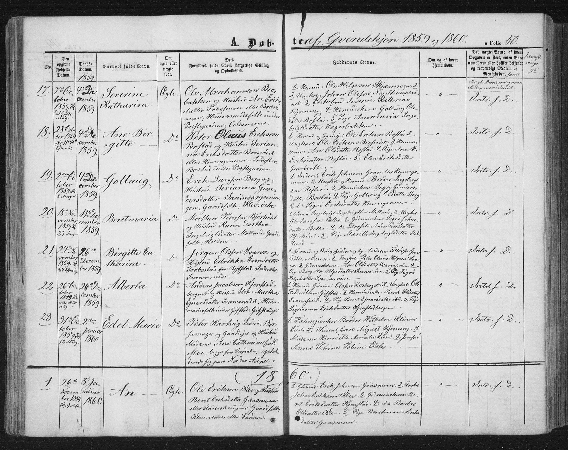 SAT, Ministerialprotokoller, klokkerbøker og fødselsregistre - Nord-Trøndelag, 749/L0472: Ministerialbok nr. 749A06, 1857-1873, s. 50