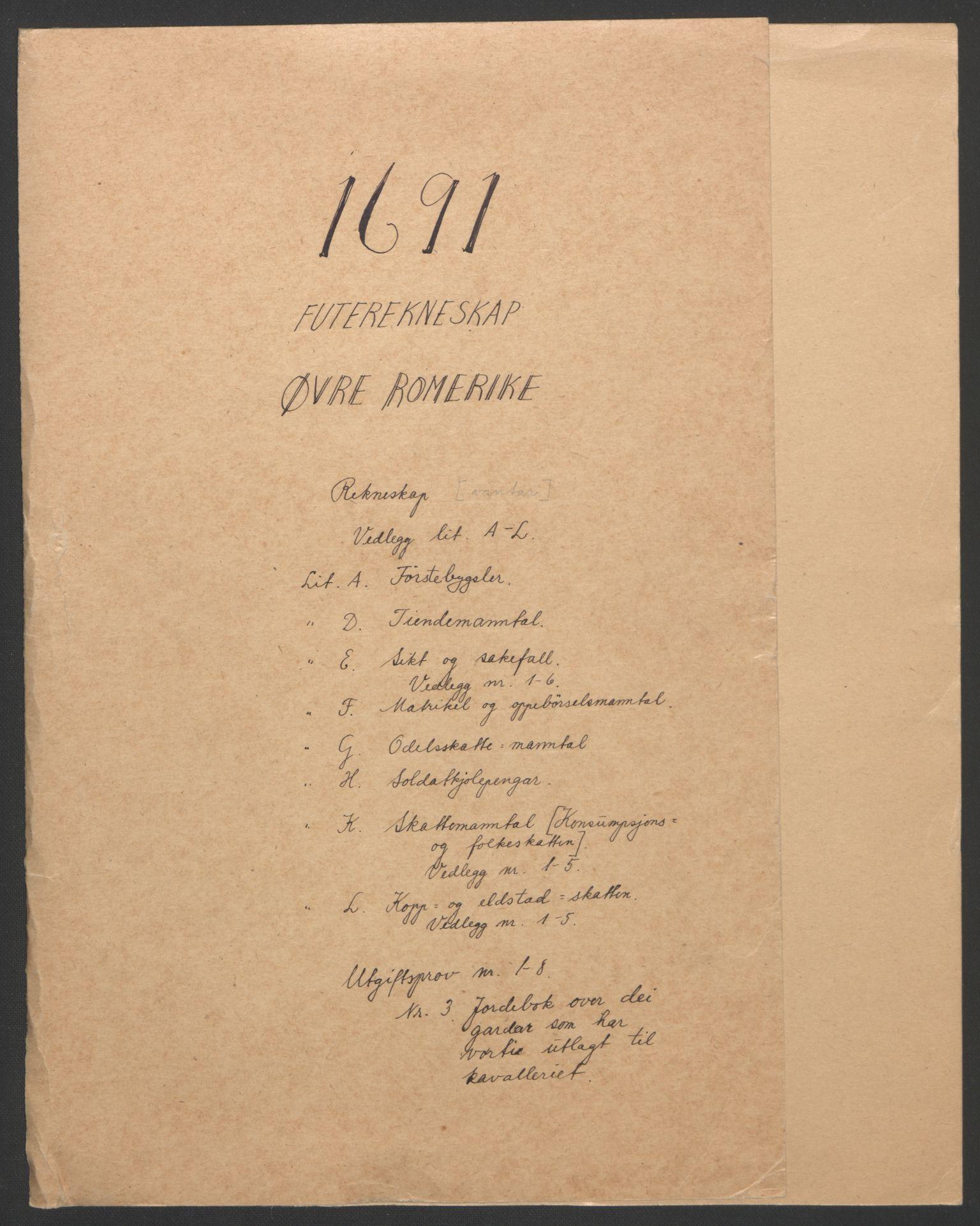 RA, Rentekammeret inntil 1814, Reviderte regnskaper, Fogderegnskap, R12/L0703: Fogderegnskap Øvre Romerike, 1691, s. 3