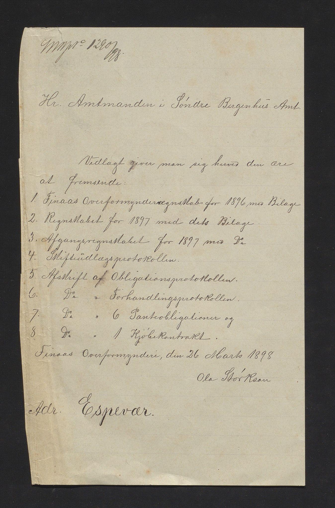 IKAH, Finnaas kommune. Overformynderiet, R/Ra/Raa/L0006: Årlege rekneskap m/vedlegg, 1896