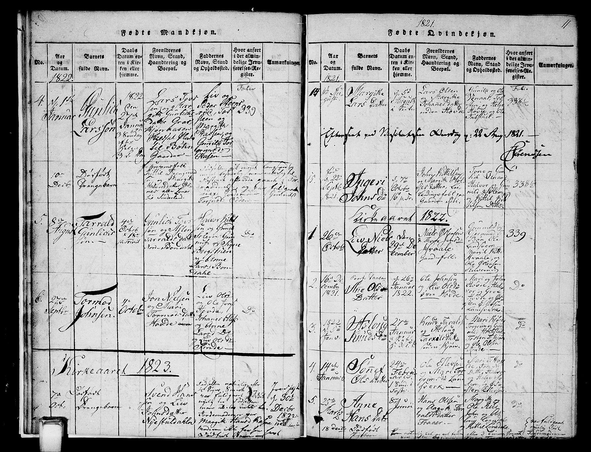 SAKO, Hjartdal kirkebøker, G/Gc/L0001: Klokkerbok nr. III 1, 1815-1842, s. 11