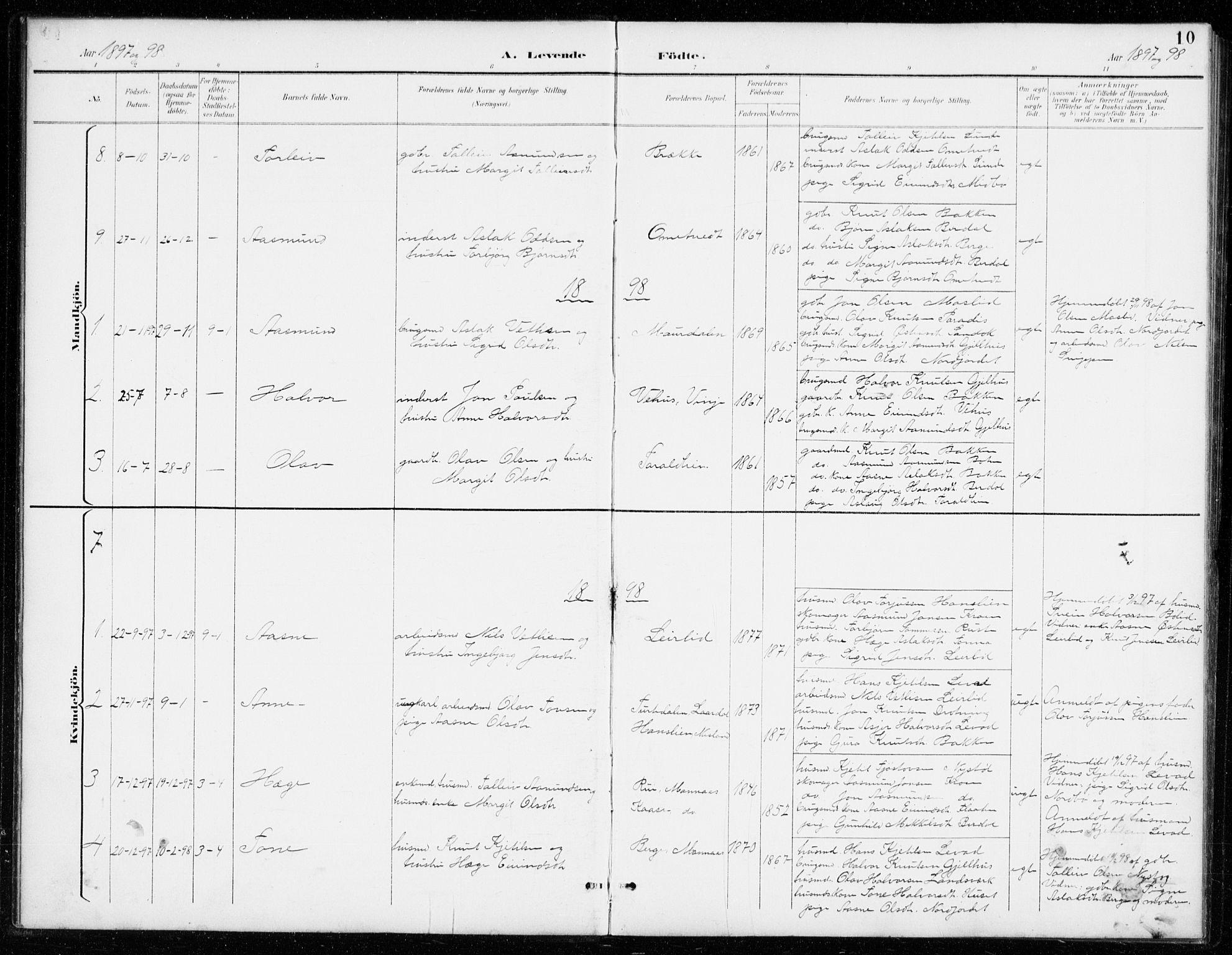 SAKO, Vinje kirkebøker, G/Gb/L0003: Klokkerbok nr. II 3, 1892-1943, s. 10