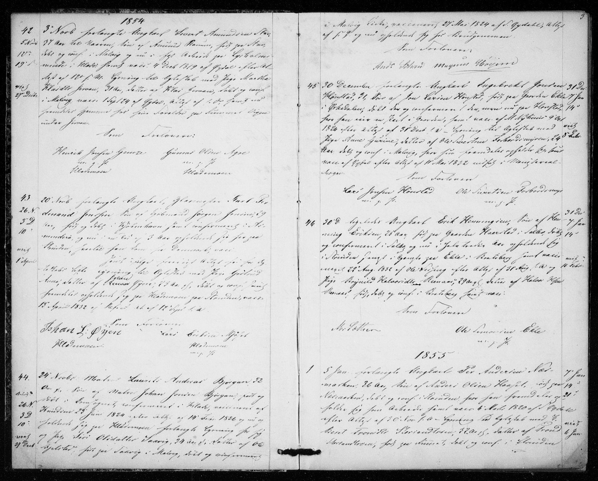SAT, Ministerialprotokoller, klokkerbøker og fødselsregistre - Sør-Trøndelag, 606/L0297: Lysningsprotokoll nr. 606A12, 1854-1861, s. 3