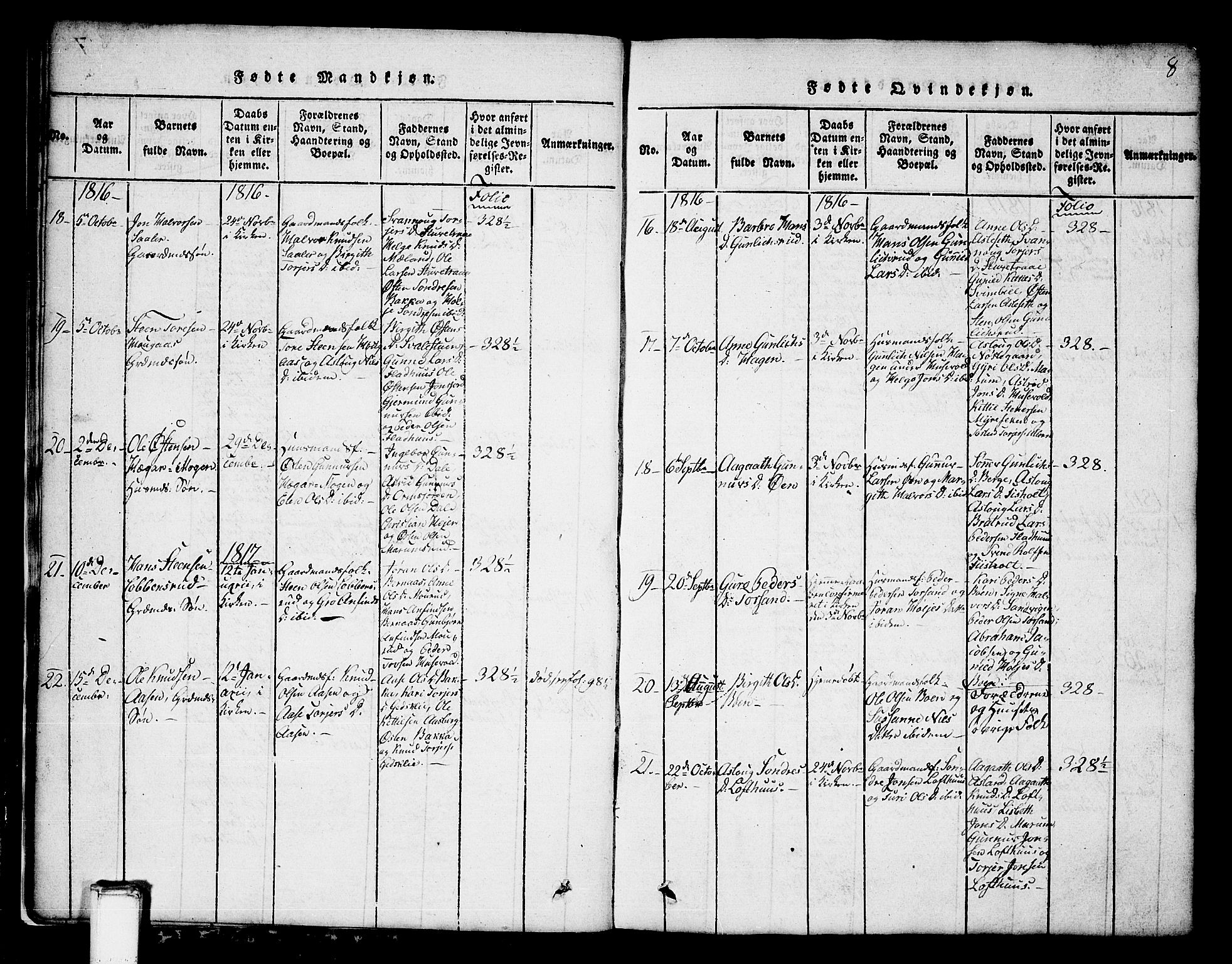 SAKO, Tinn kirkebøker, G/Ga/L0001: Klokkerbok nr. I 1, 1815-1850, s. 8