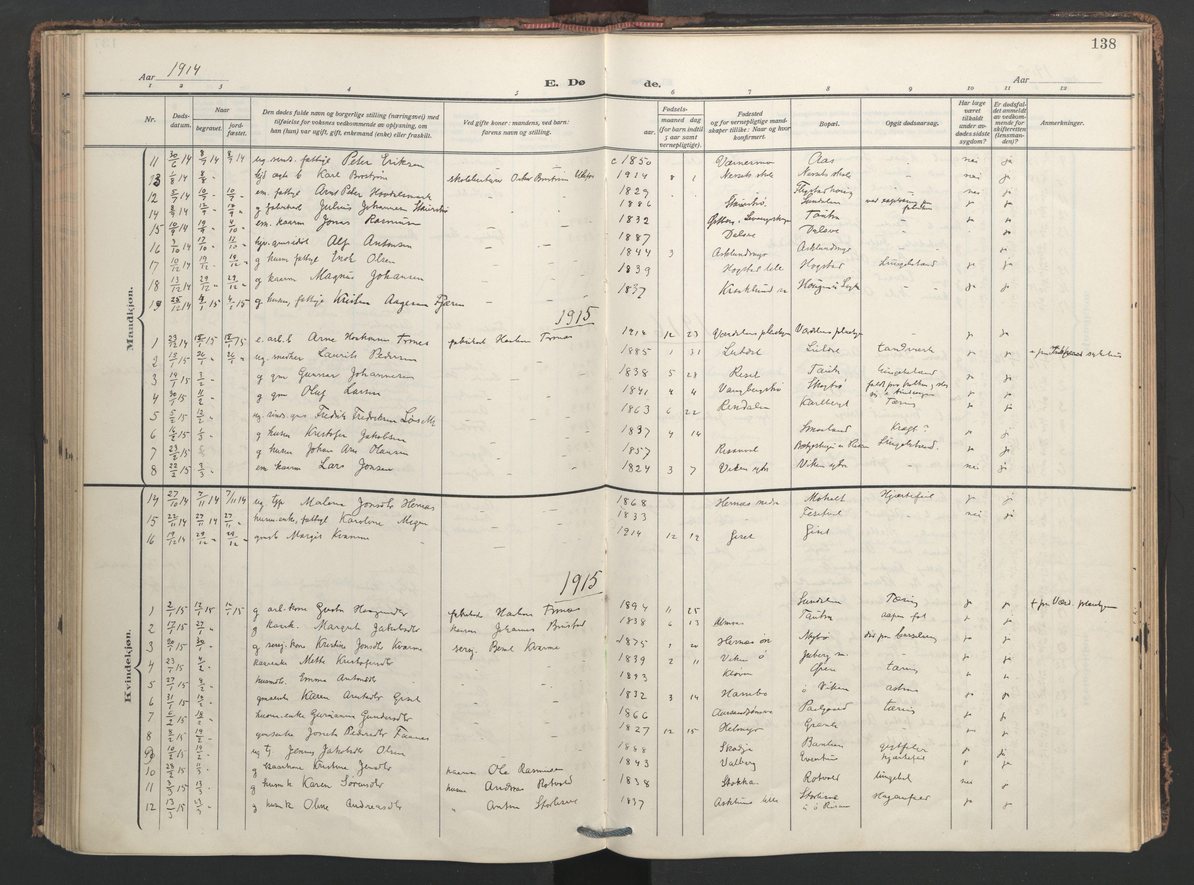 SAT, Ministerialprotokoller, klokkerbøker og fødselsregistre - Nord-Trøndelag, 713/L0123: Ministerialbok nr. 713A12, 1911-1925, s. 138