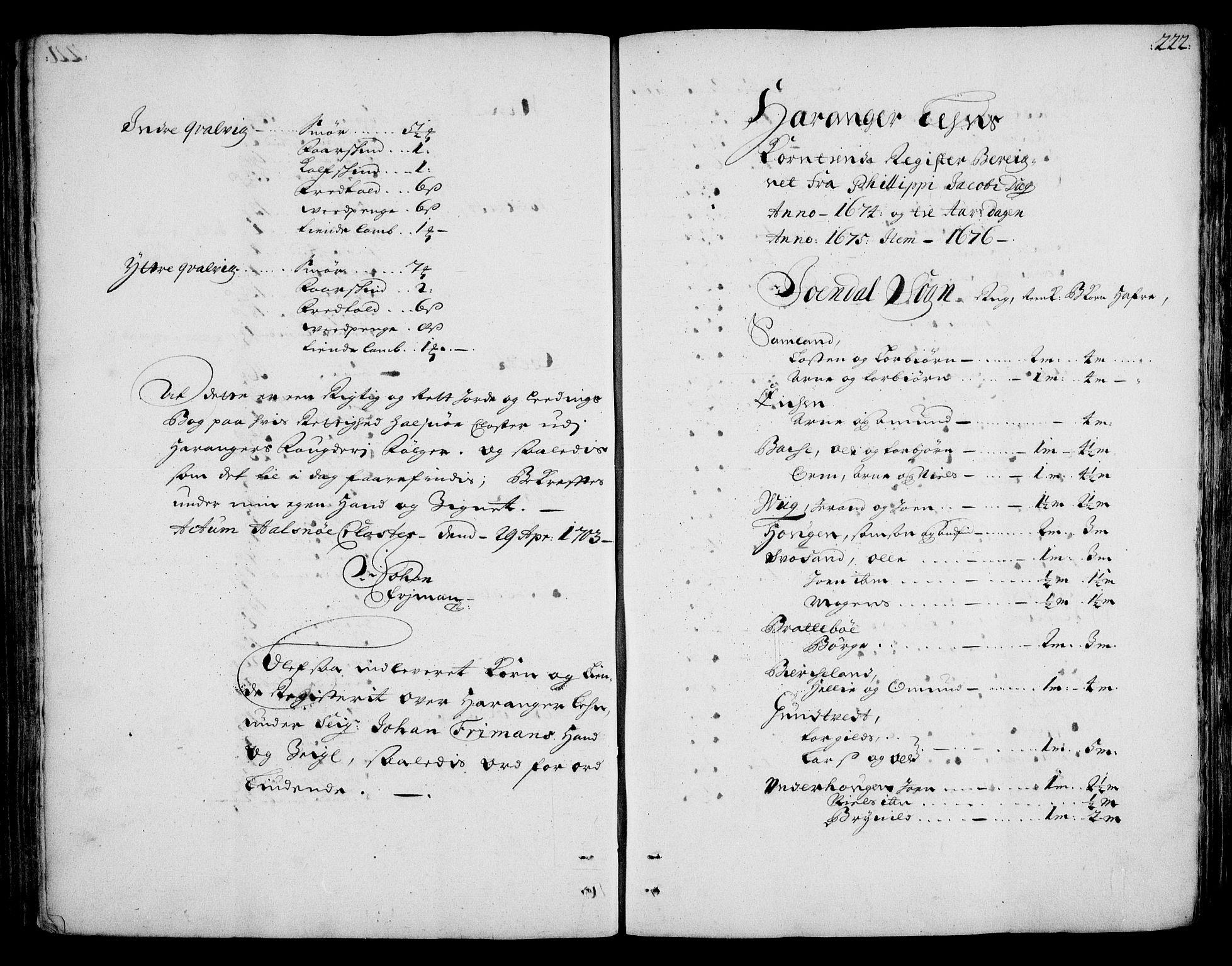 RA, Rentekammeret inntil 1814, Realistisk ordnet avdeling, On/L0002: [Jj 3]: Besiktigelsesforretninger over Halsnøy klosters gods, 1659-1703, s. 221b-222a