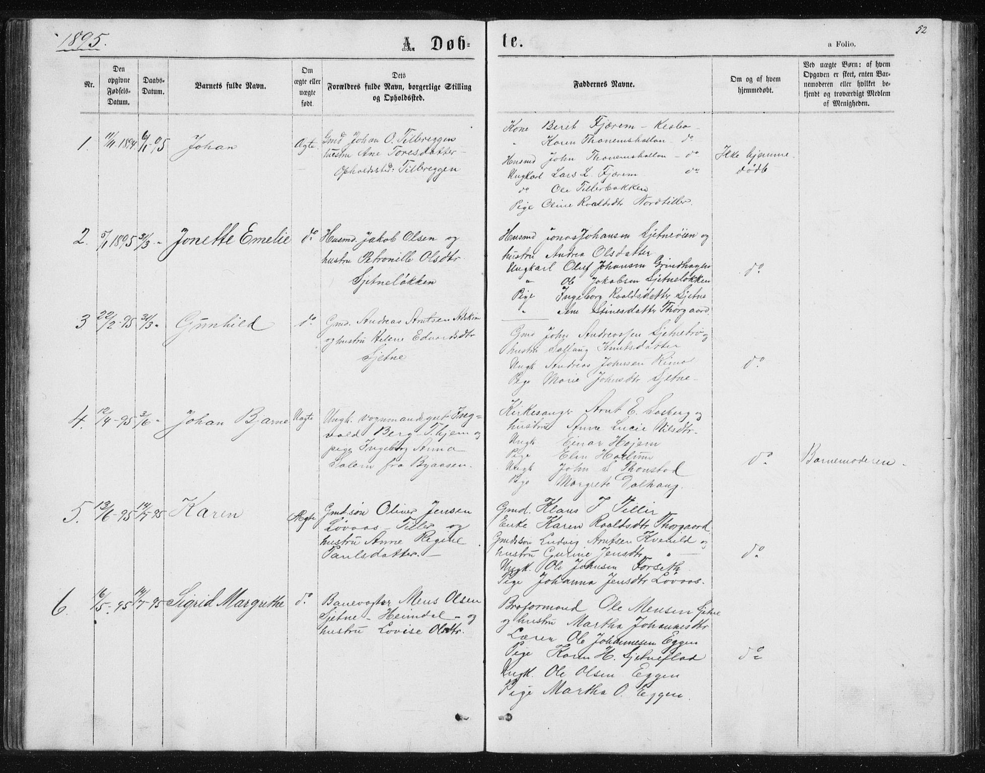 SAT, Ministerialprotokoller, klokkerbøker og fødselsregistre - Sør-Trøndelag, 621/L0459: Klokkerbok nr. 621C02, 1866-1895, s. 52
